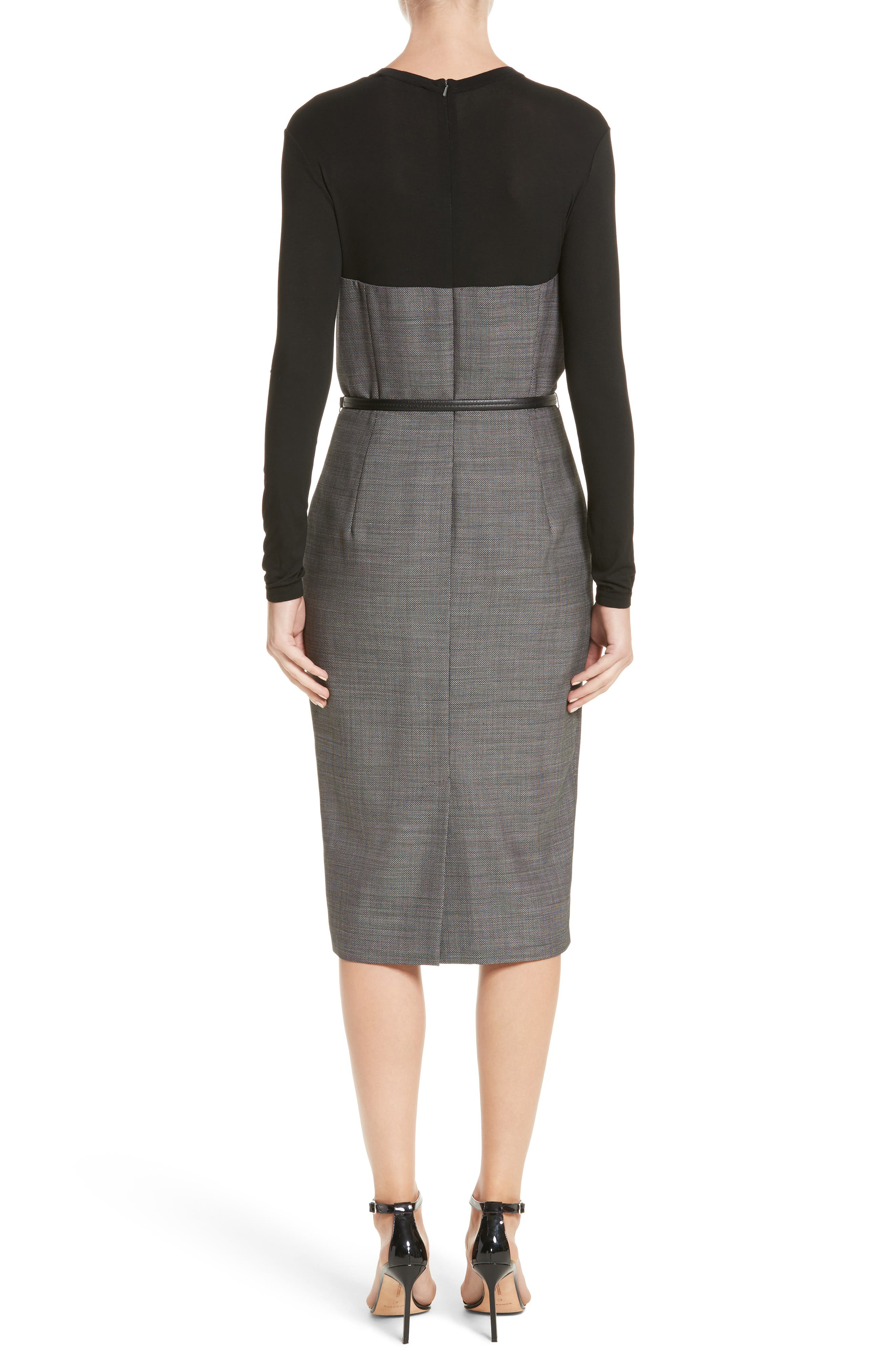 Canapa Stretch Wool Layered Sheath Dress,                             Alternate thumbnail 2, color,                             Black