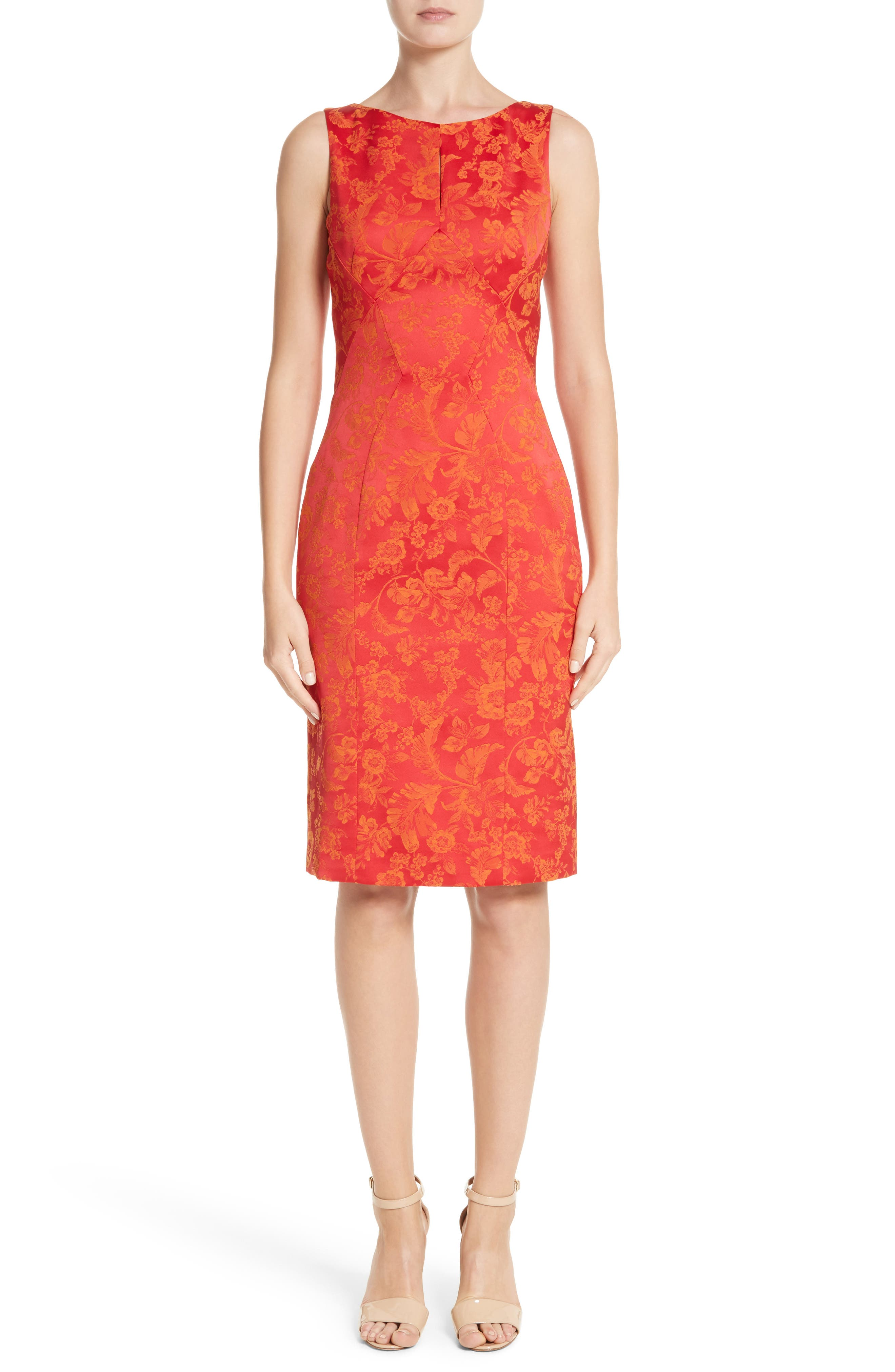 Zac Posen Floral Jacquard Sheath Dress