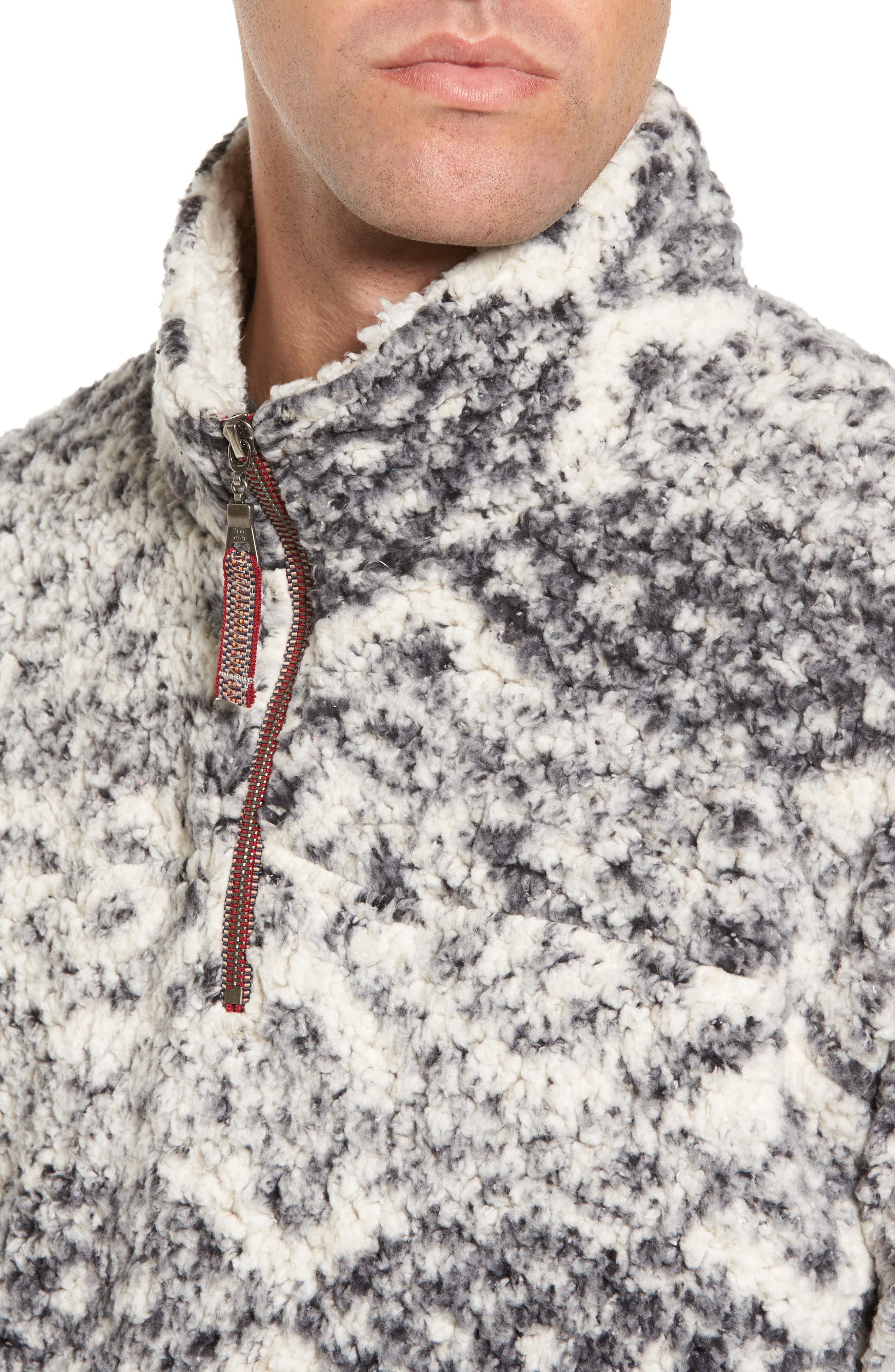 Print Frosty Tipped Quarter Zip Pullover,                             Alternate thumbnail 4, color,                             Putty