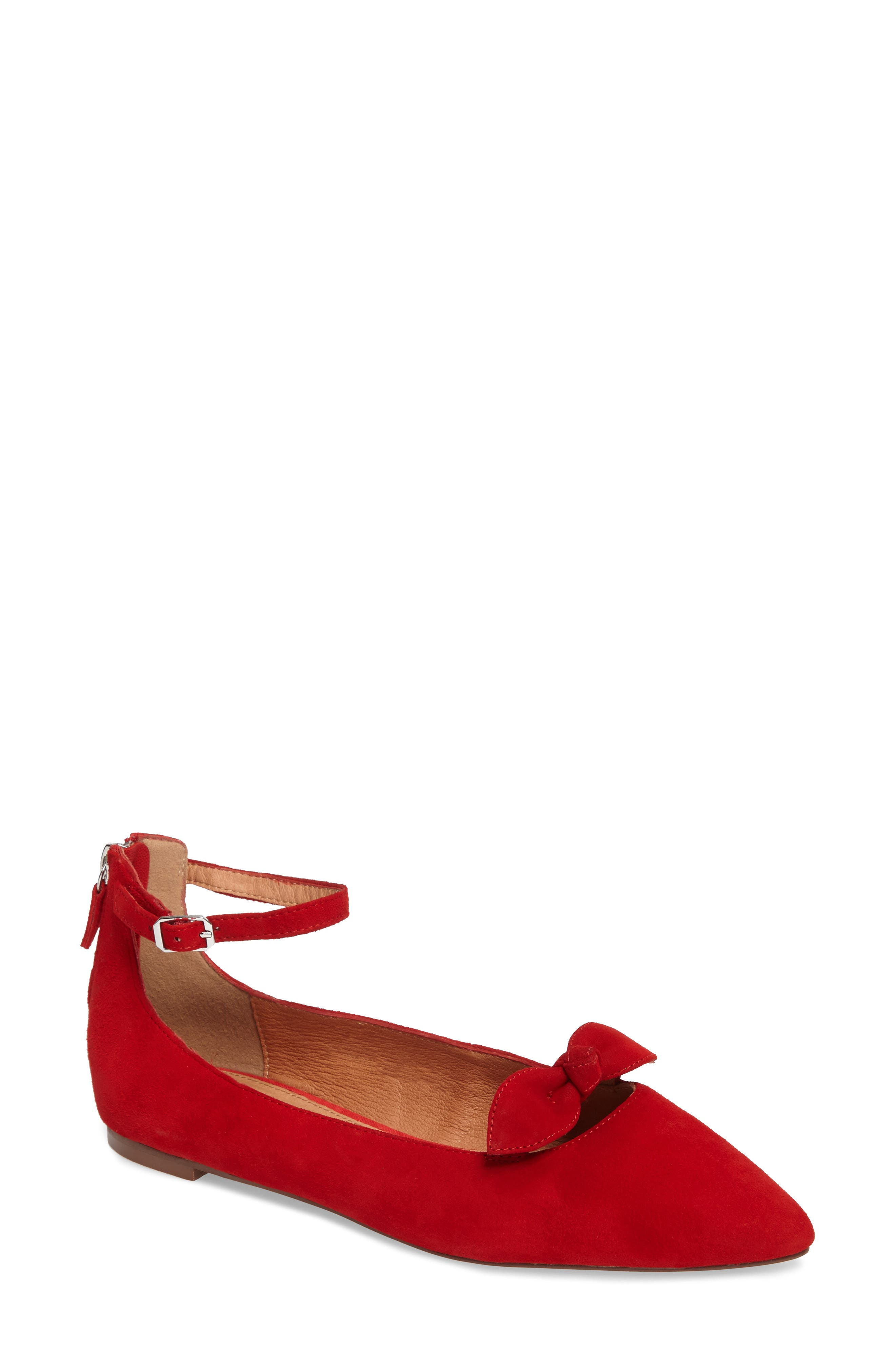 Paisley Ankle Strap Flat,                         Main,                         color, Red Suede