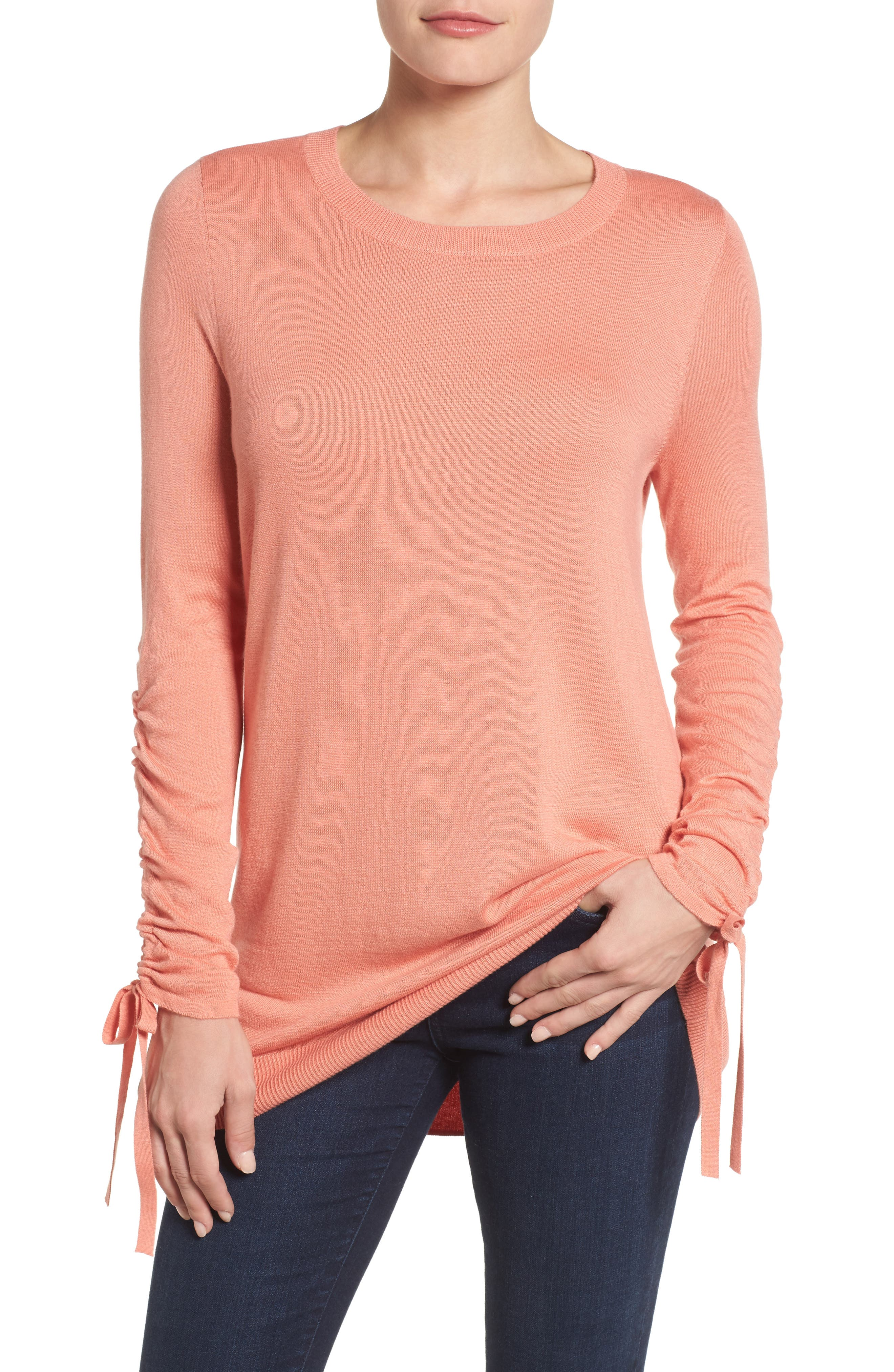 Halogen® Ruched Sleeve Tunic Sweater