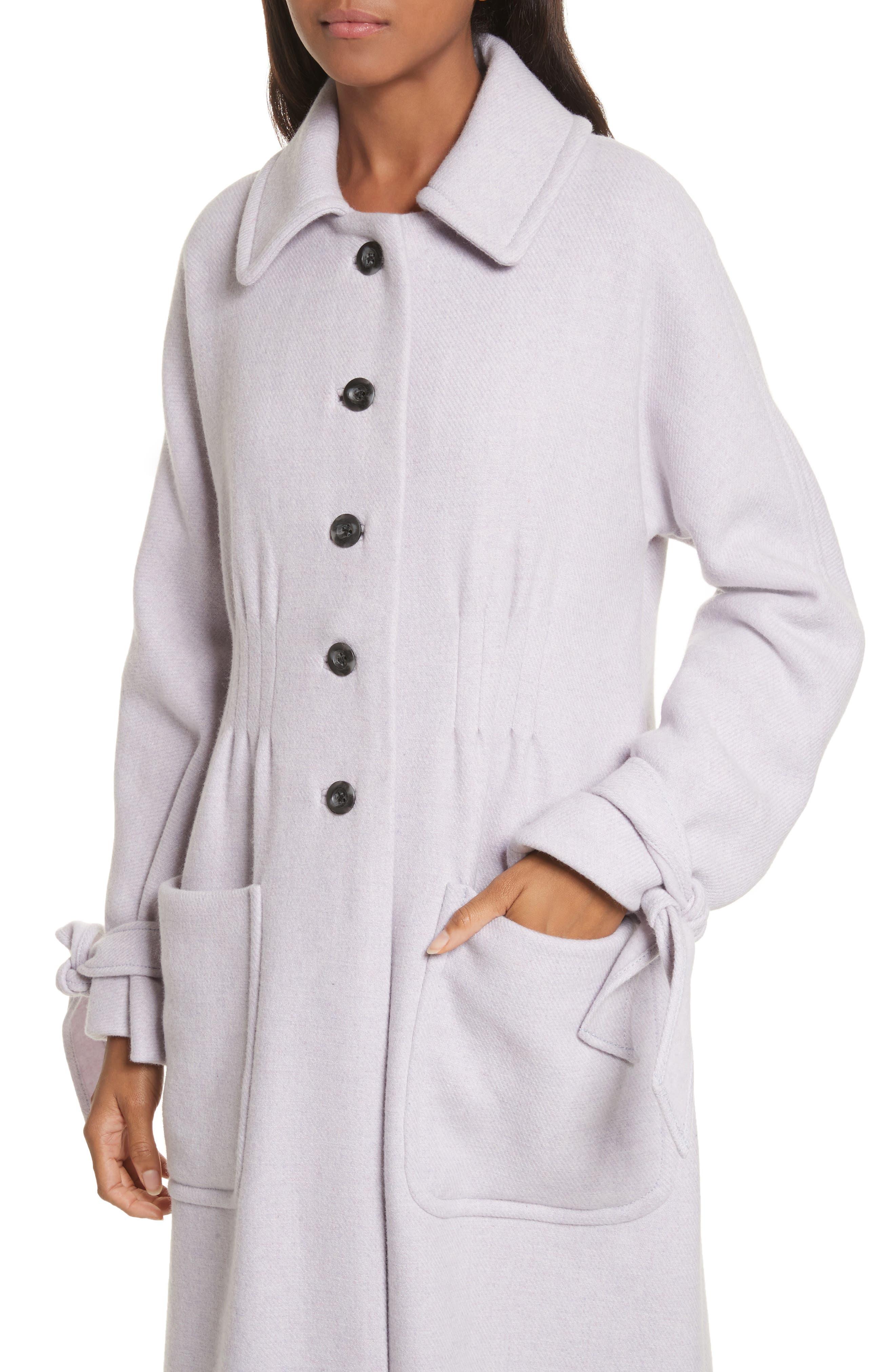 Wool Blend Melton Coat,                             Alternate thumbnail 4, color,                             Dusty Lavender
