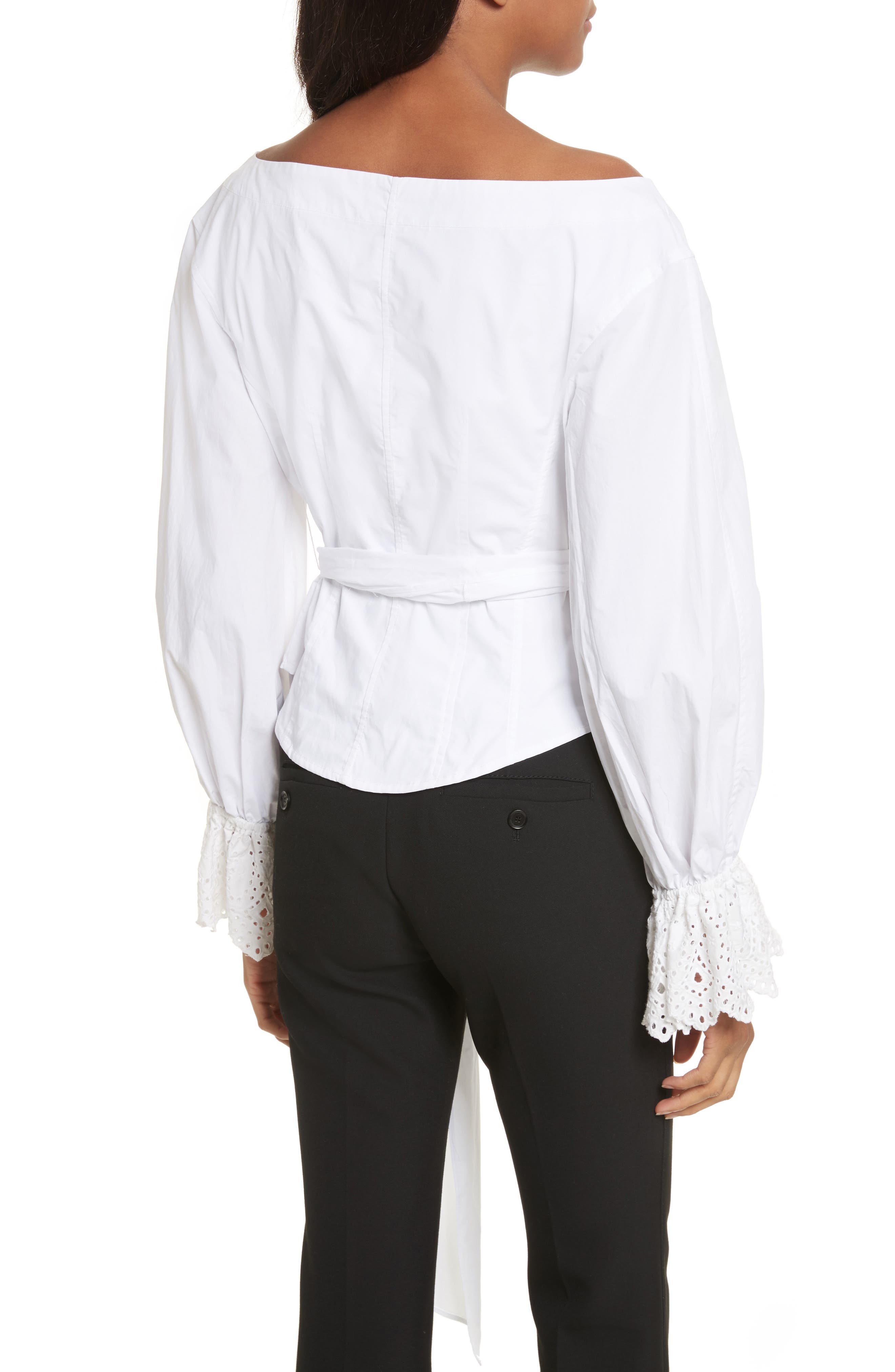 Eyelet Sleeve Poplin Top,                             Alternate thumbnail 3, color,                             Milk