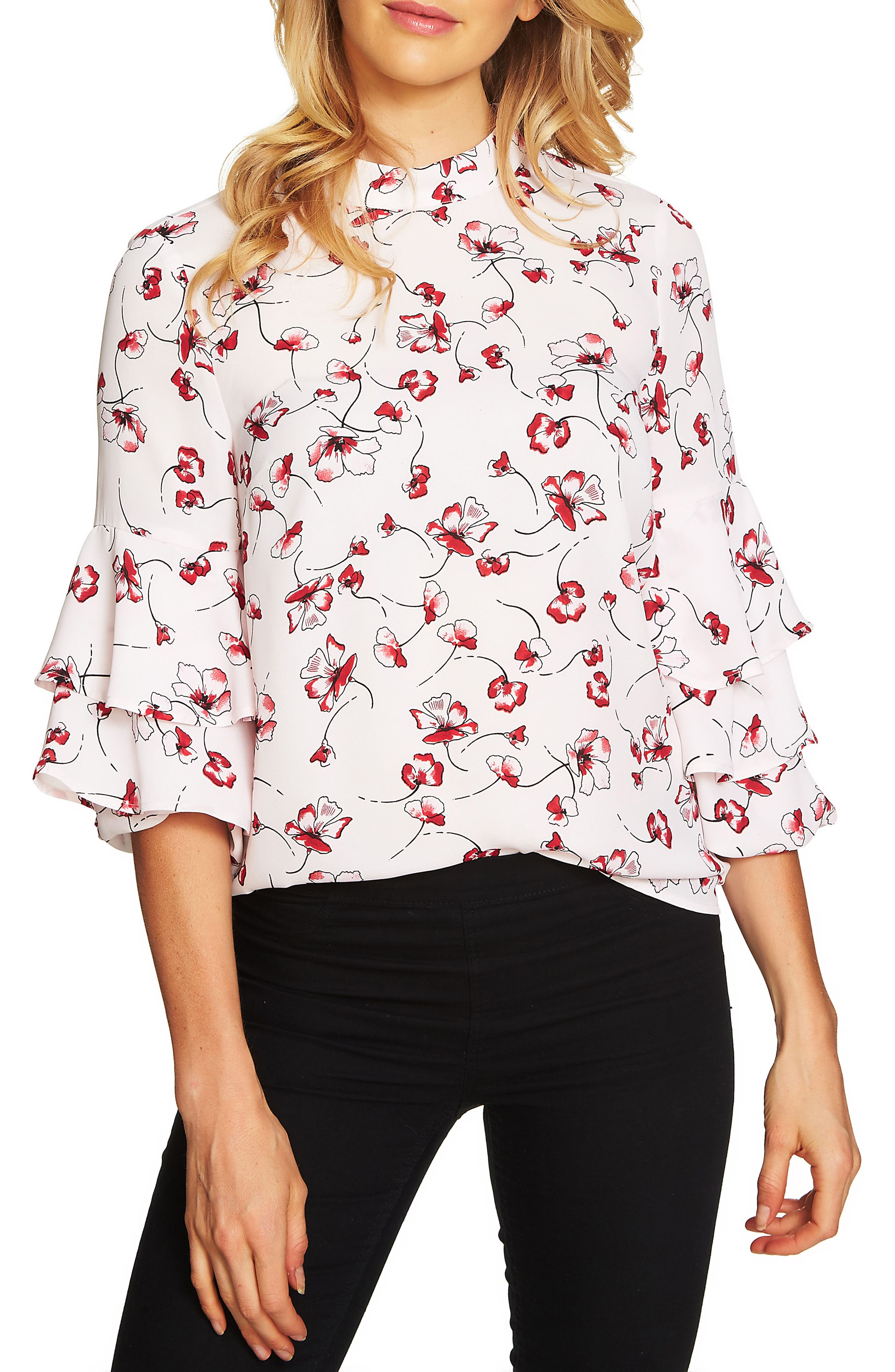Alternate Image 1 Selected - CeCe Natasha Floral Tiered Ruffle Top