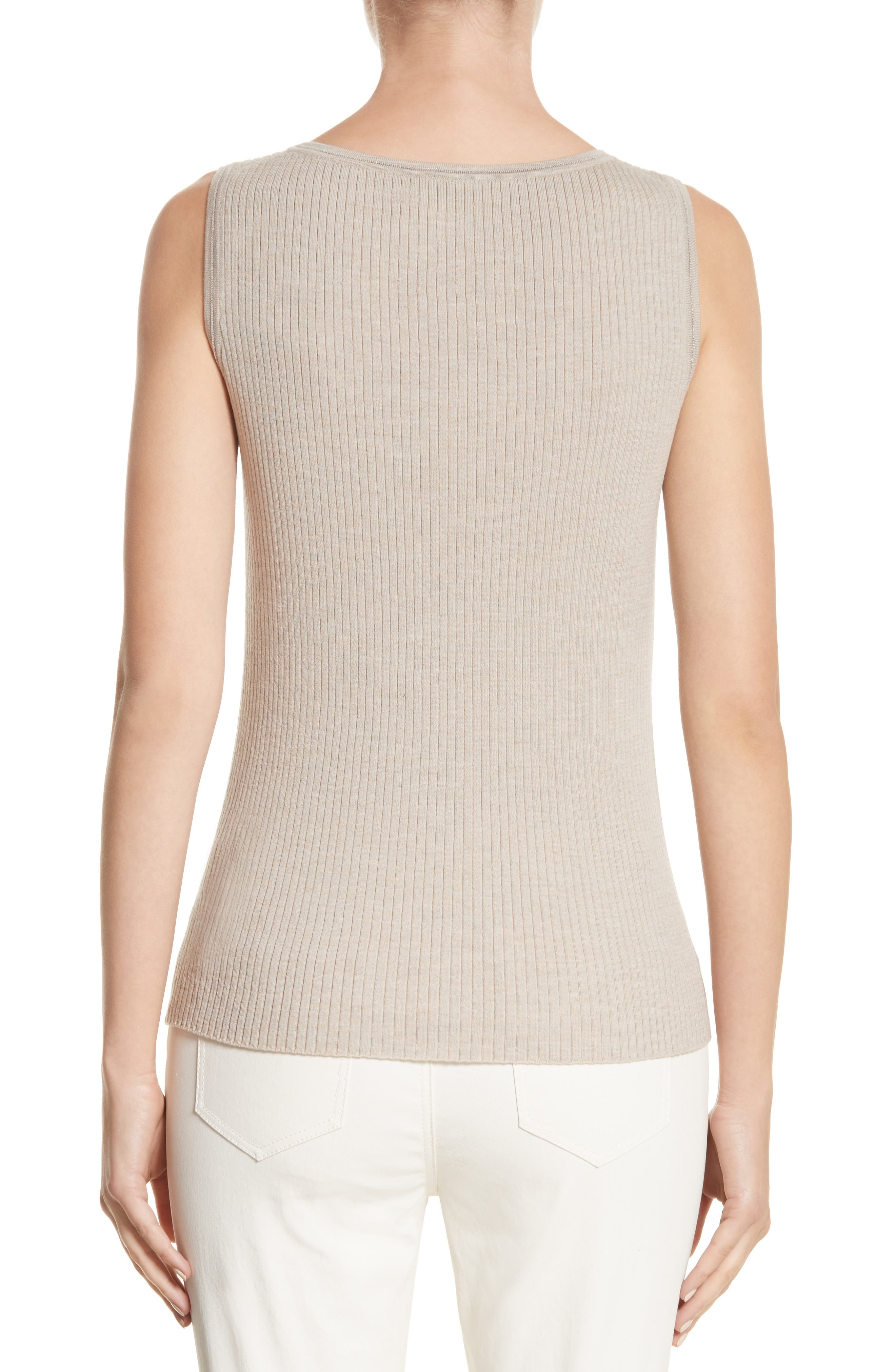 Metallic Trim Modern Ribbed Tank,                             Alternate thumbnail 2, color,                             Luxor Melange