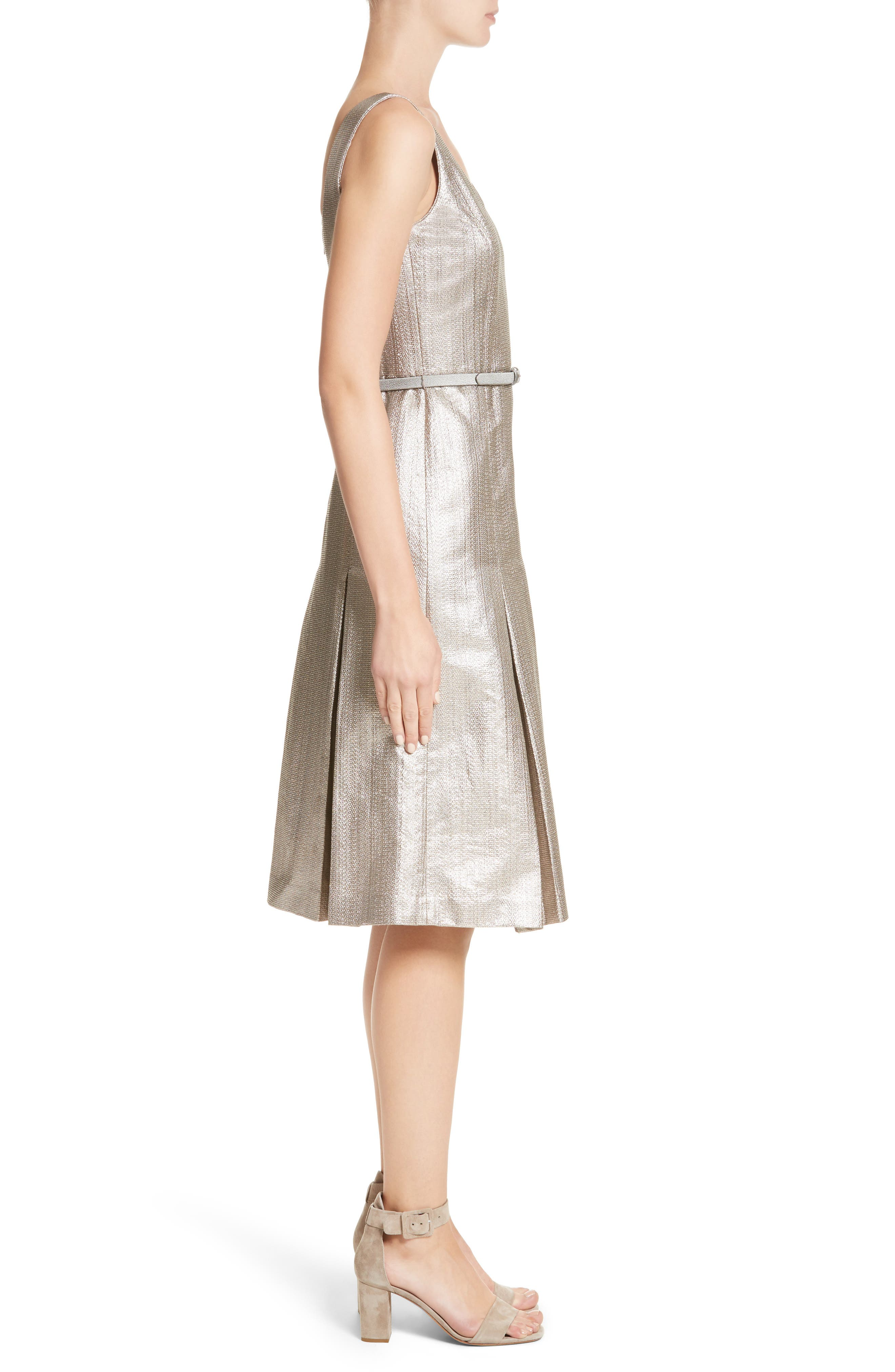 Lois Ceremonial Cloth Dress,                             Alternate thumbnail 3, color,                             Oyster Metallic