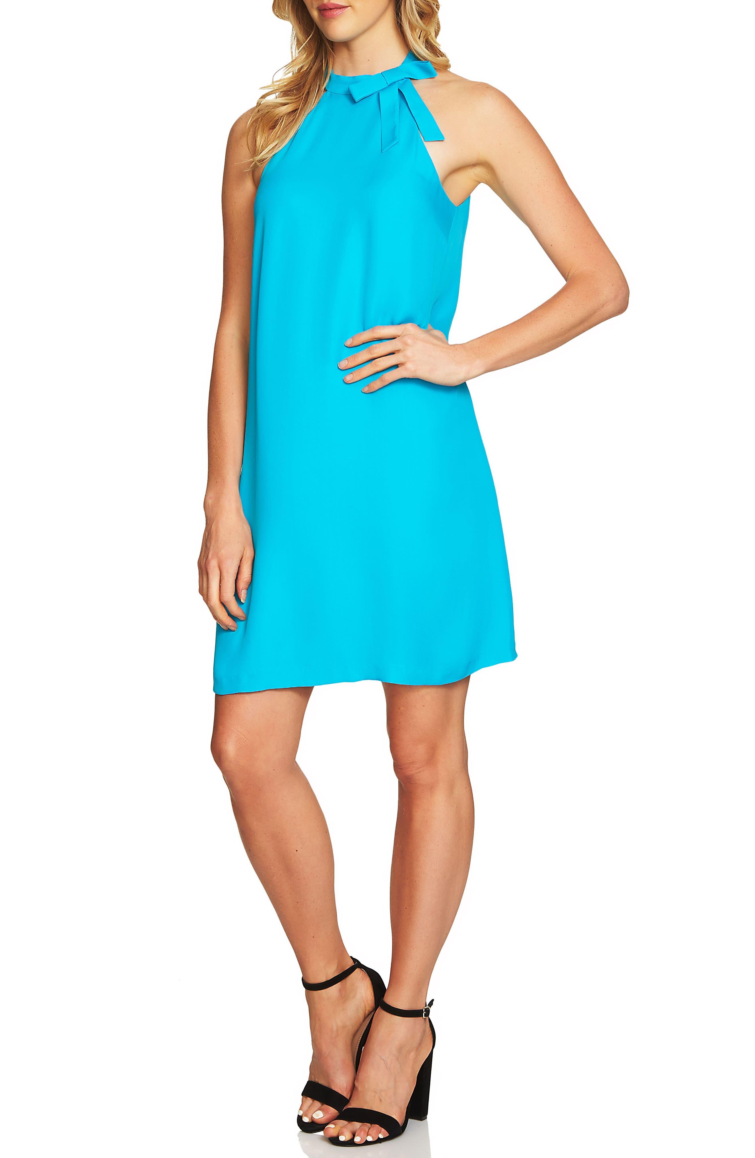 Tie Neck Halter Dress,                         Main,                         color, Ocean Depths