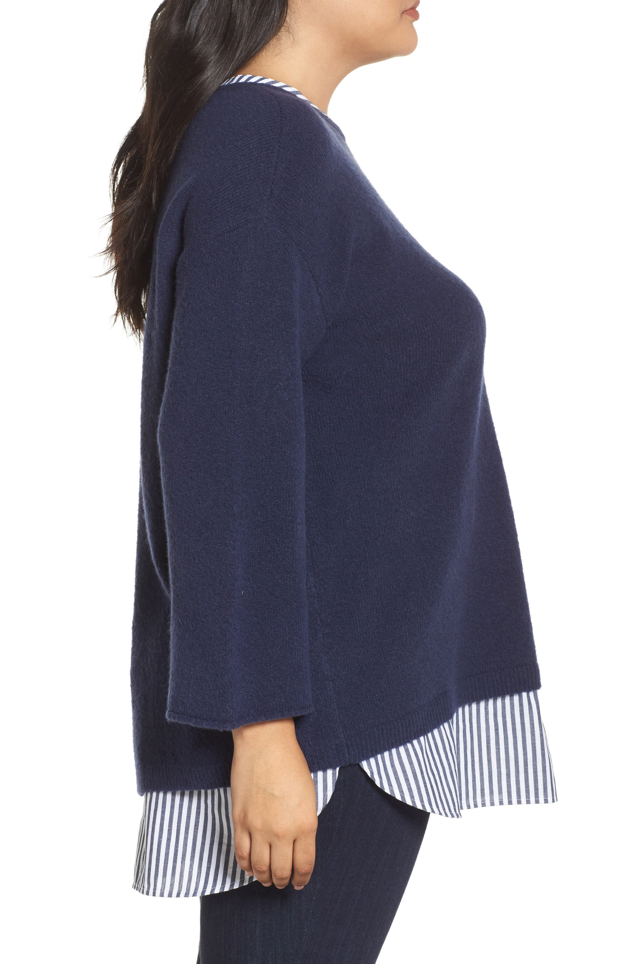 Cozy Layered Sweater,                             Alternate thumbnail 3, color,                             Navy Peacoat