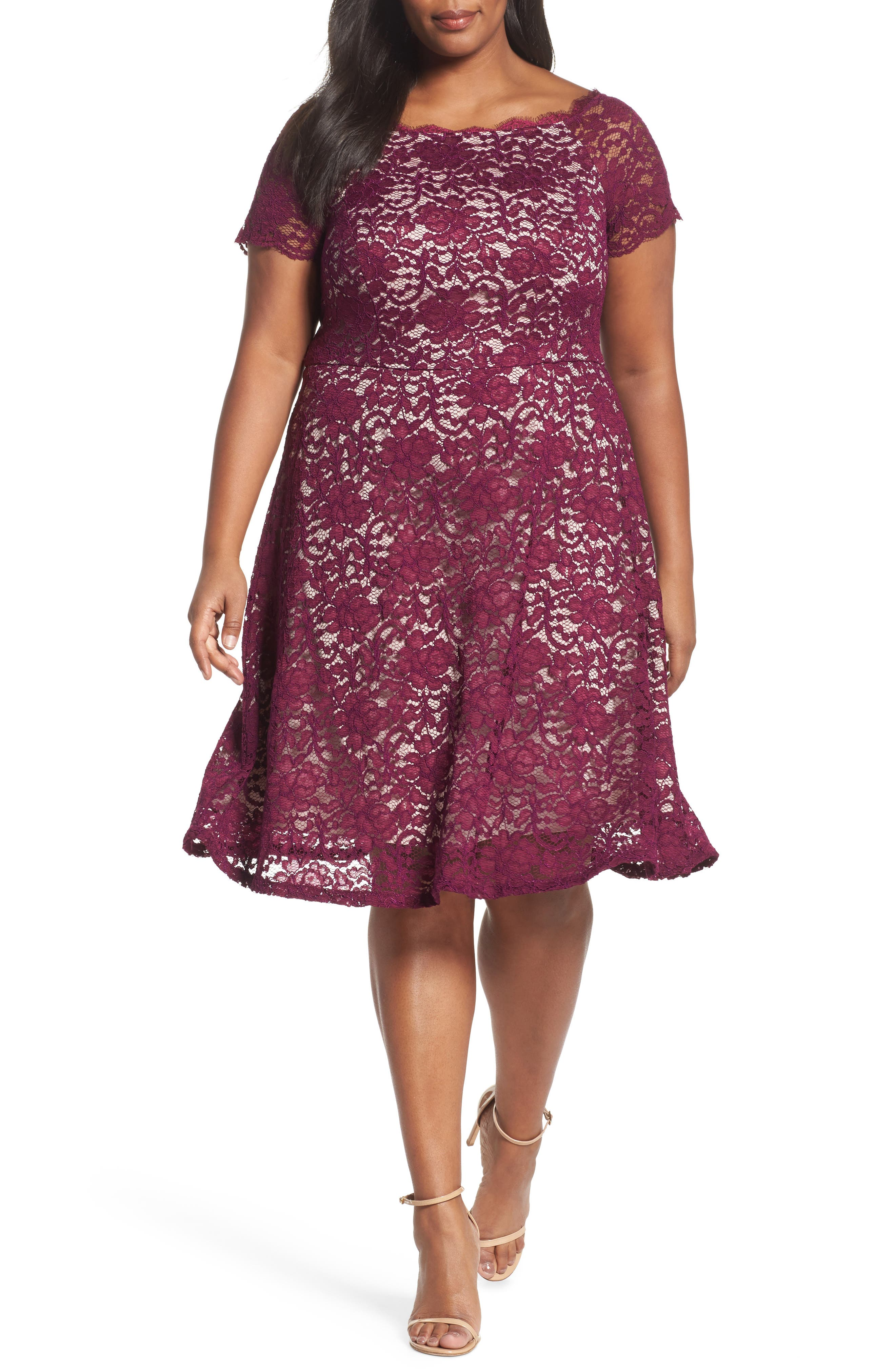 Fit & Flare Lace Dress,                         Main,                         color, Dark Magenta