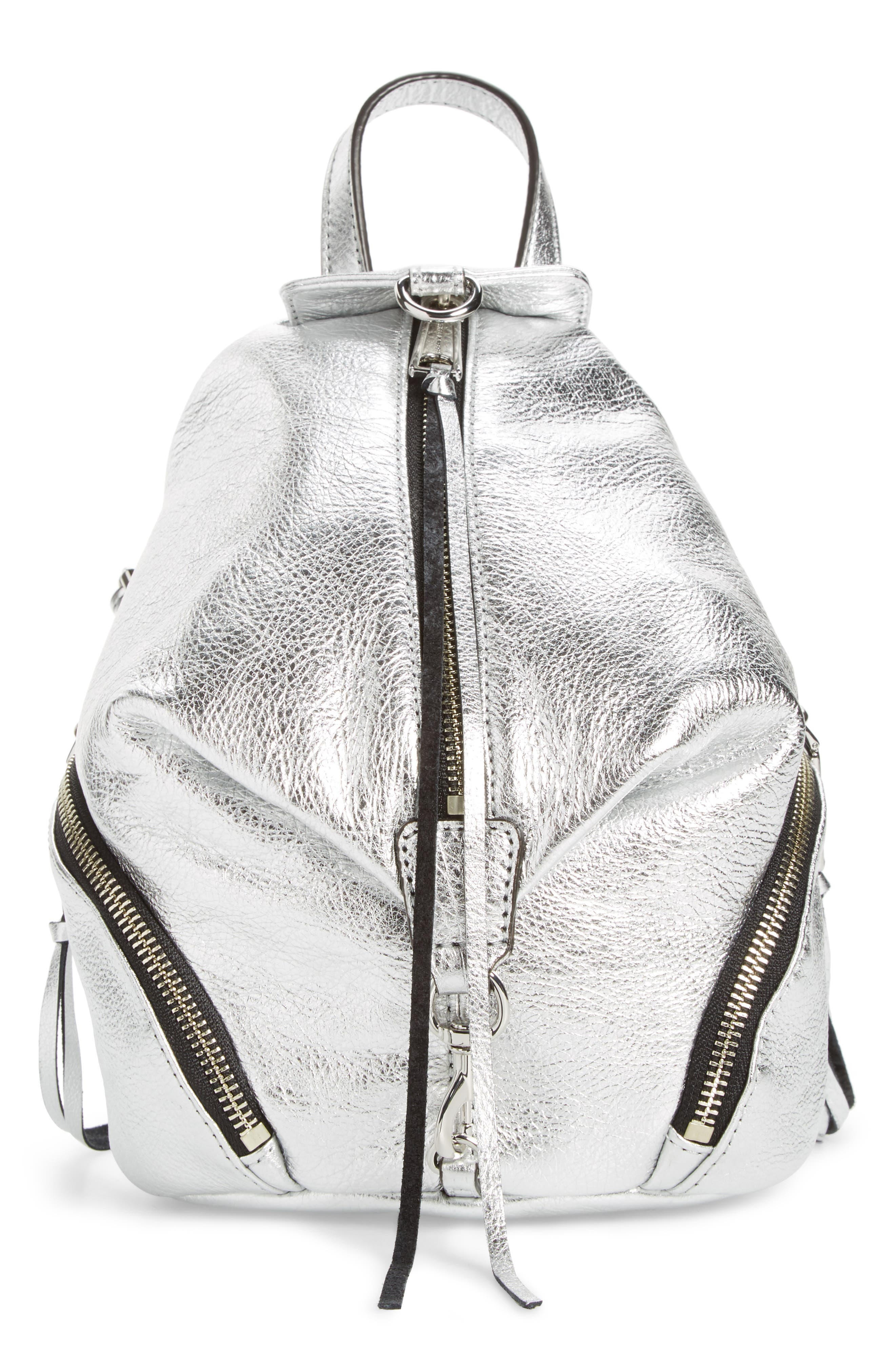 Alternate Image 1 Selected - Rebecca Minkoff Mini Julian Metallic Leather Backpack
