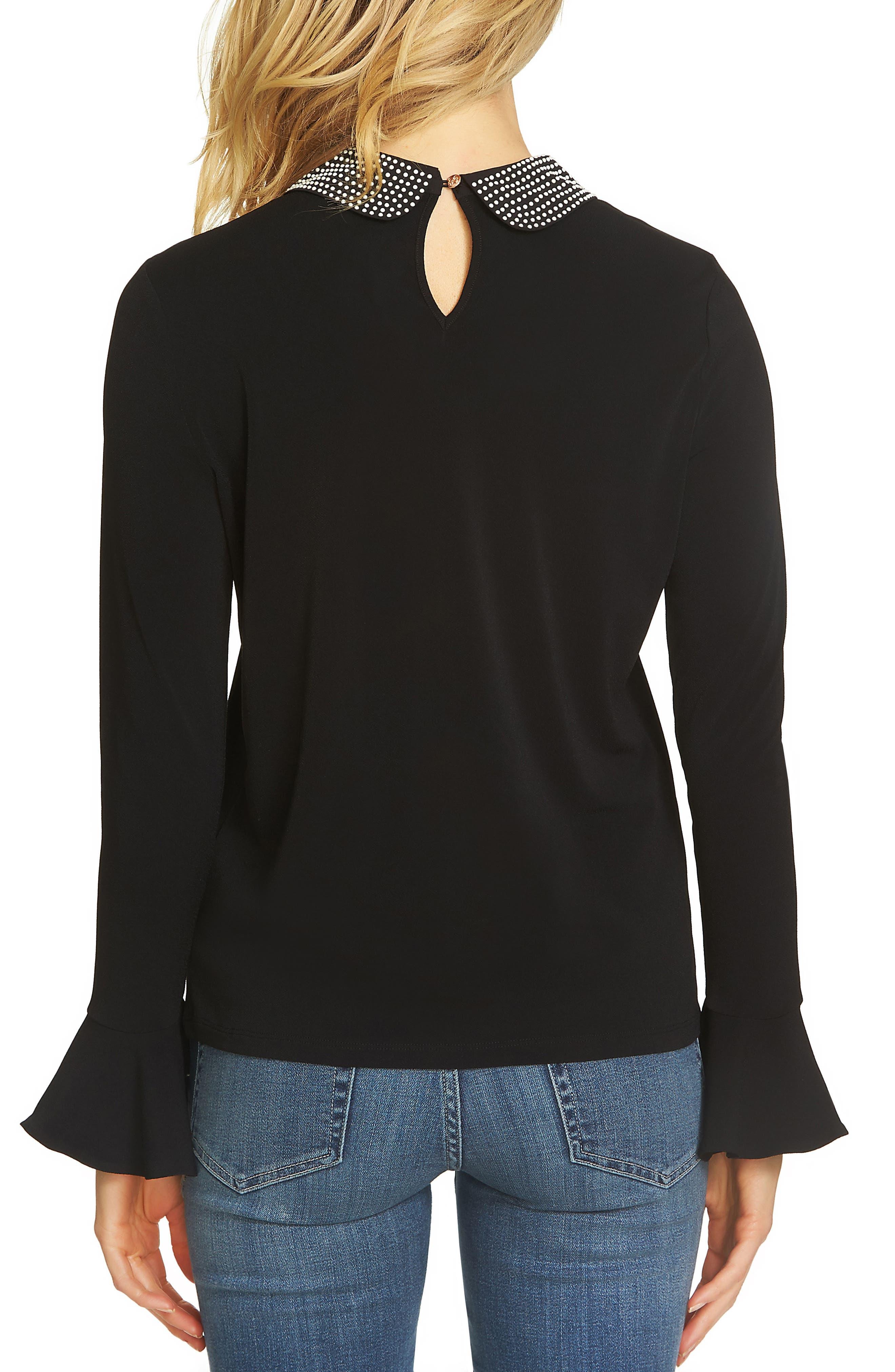 Embellished Collar Top,                             Alternate thumbnail 2, color,                             Rich Black