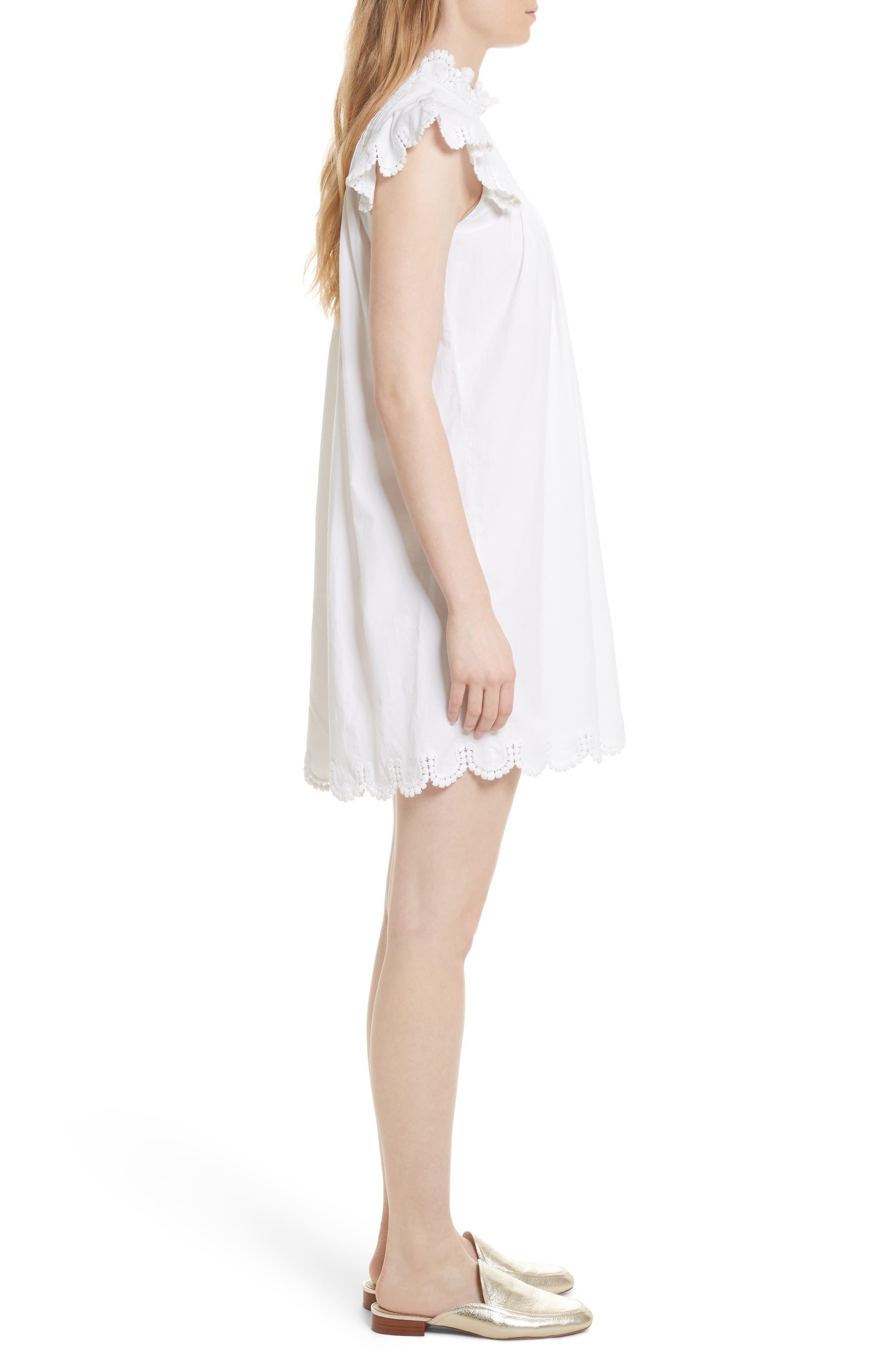 Luna Eyelet Tunic Dress,                             Alternate thumbnail 3, color,                             White W/ Nude Mesh