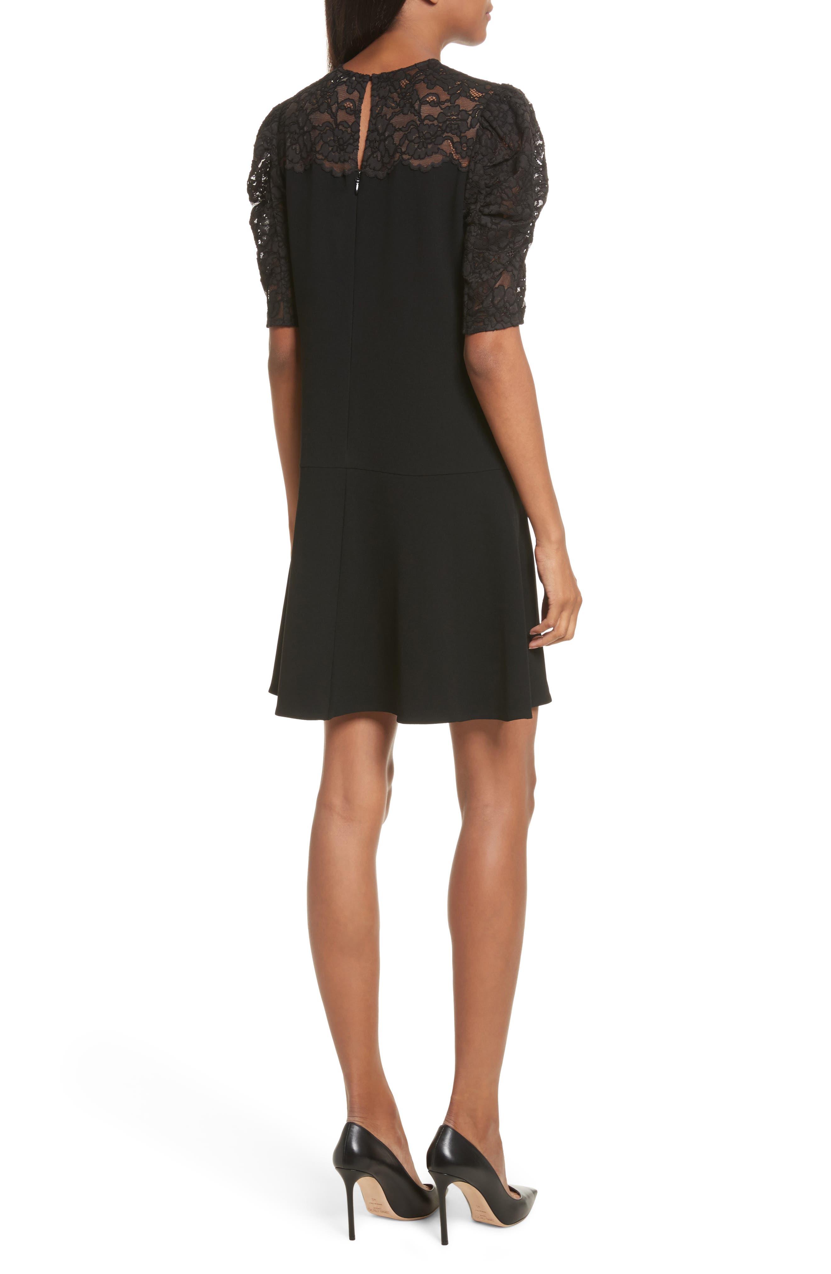 Lace & Crepe A-Line Dress,                             Alternate thumbnail 2, color,                             Black