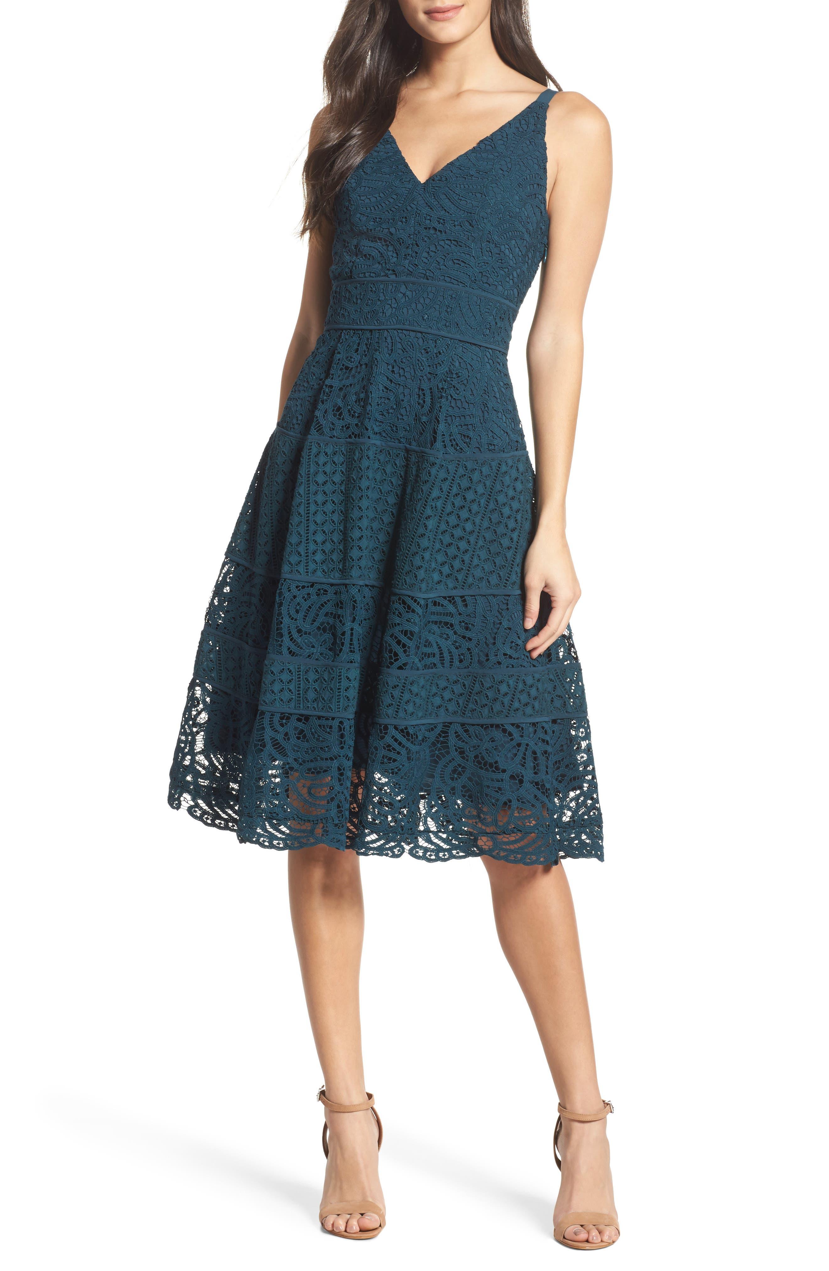 Adelyn Rae Fit & Flare Midi Dress
