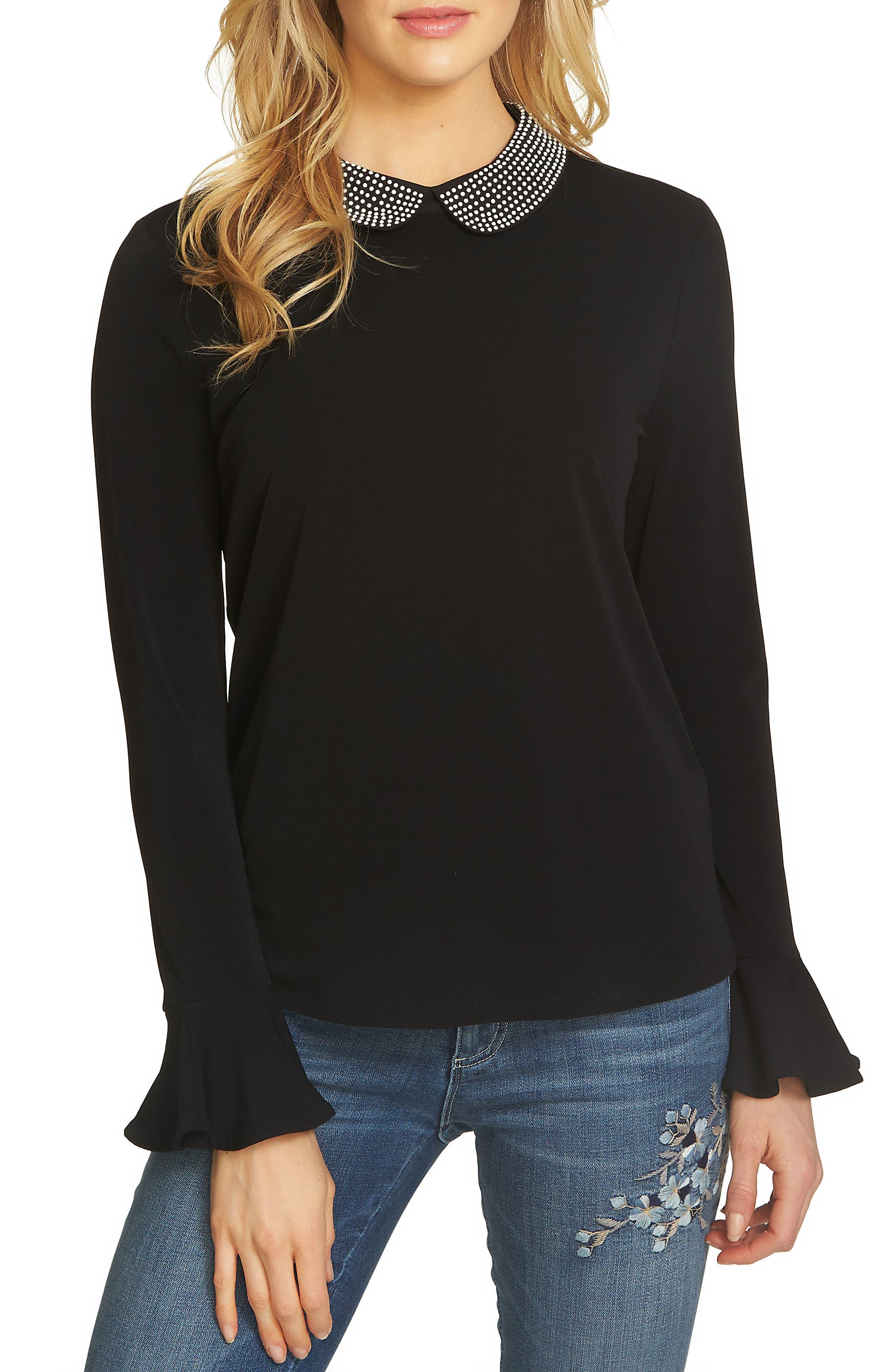 Embellished Collar Top,                         Main,                         color, Rich Black