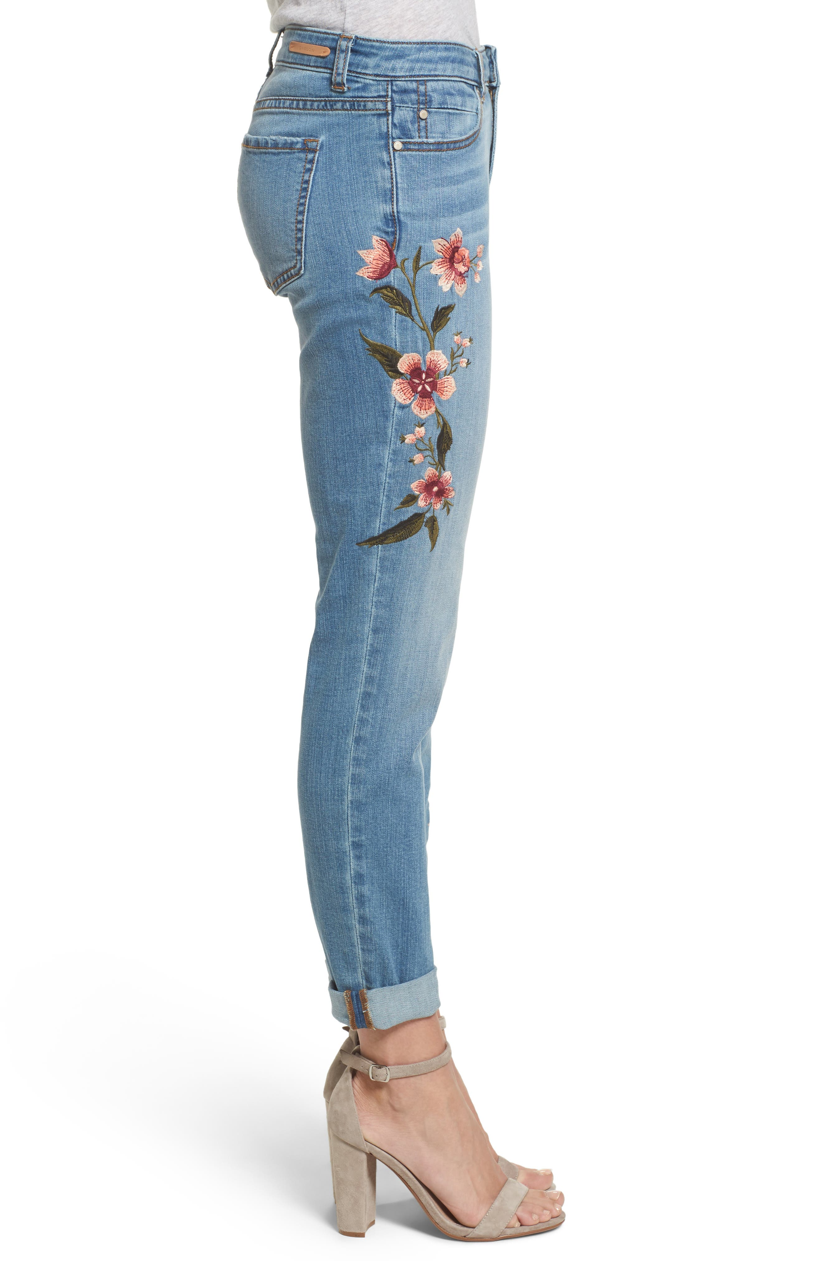 Embroidered Skinny Boyfriend Jeans,                             Alternate thumbnail 4, color,                             Blue Frontier