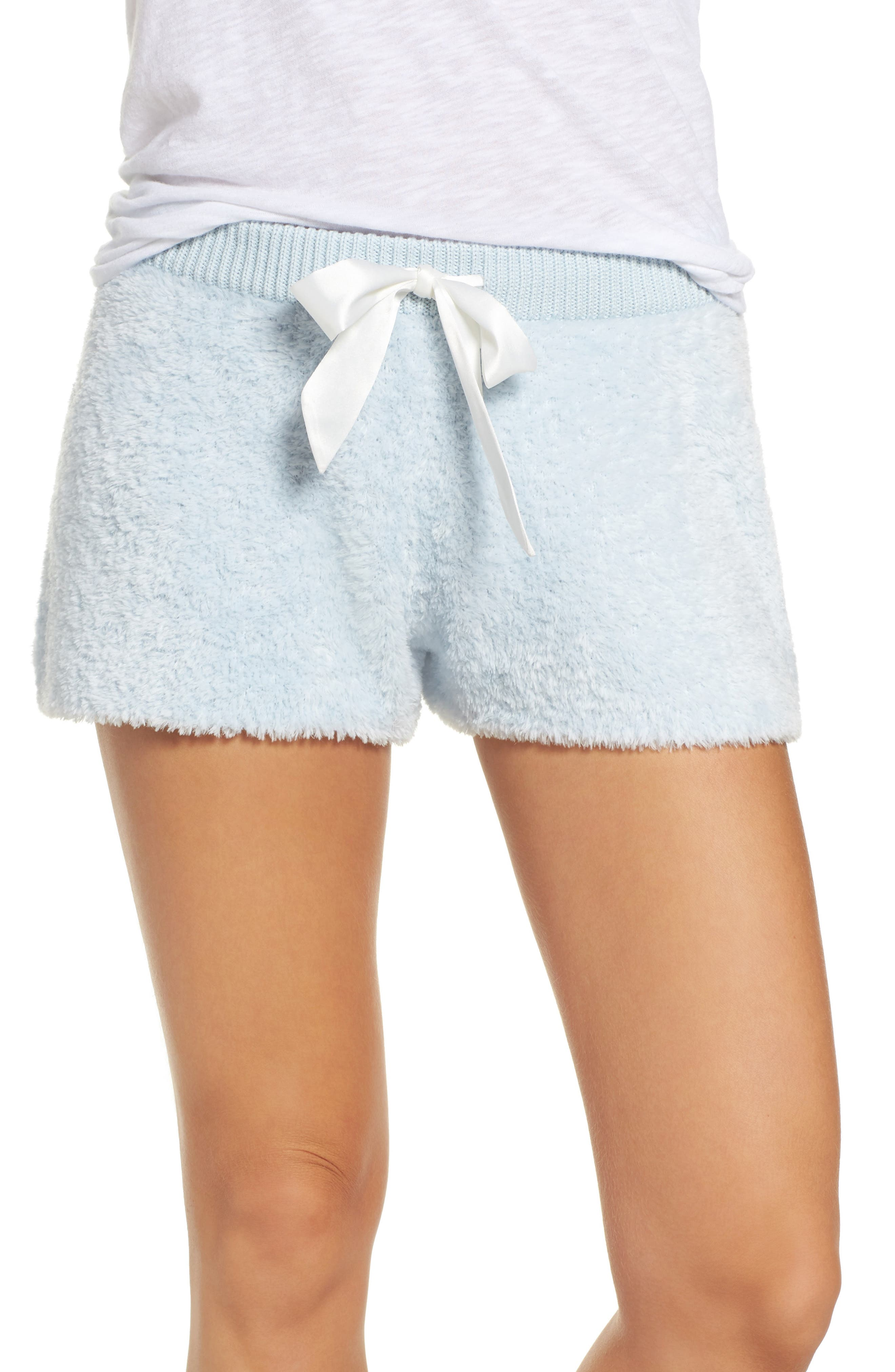 Fuzzy Lounge Shorts,                             Main thumbnail 1, color,                             Blue Drift