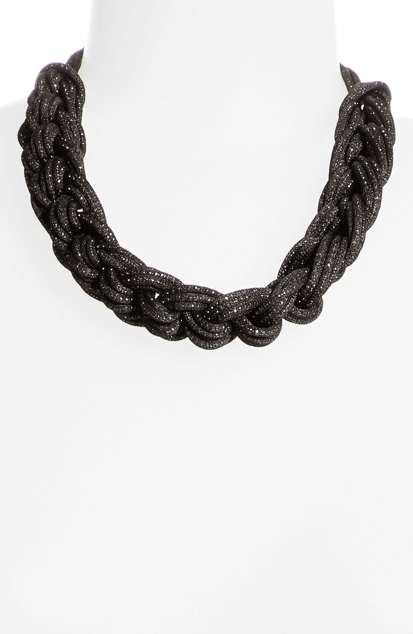 Braided Mesh Necklace,                             Alternate thumbnail 4, color,                             Black