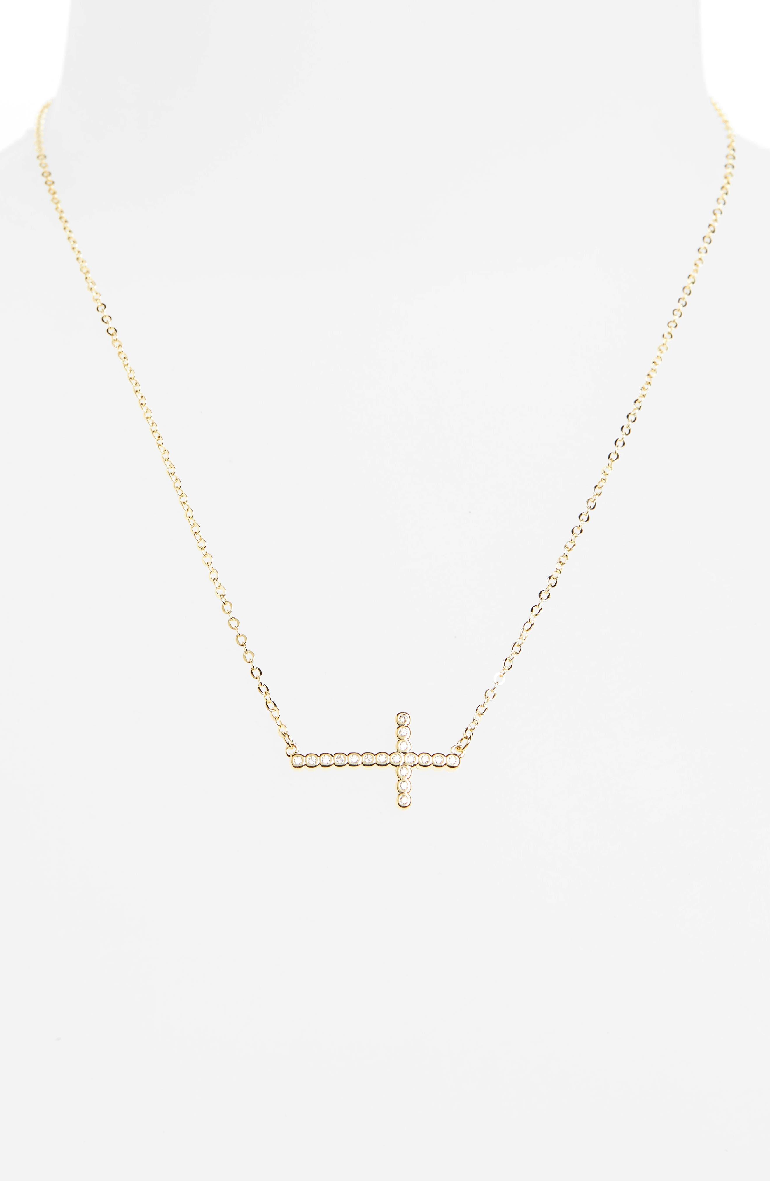 Alternate Image 2  - Melinda Maria Cubic Zirconia Cross Necklace