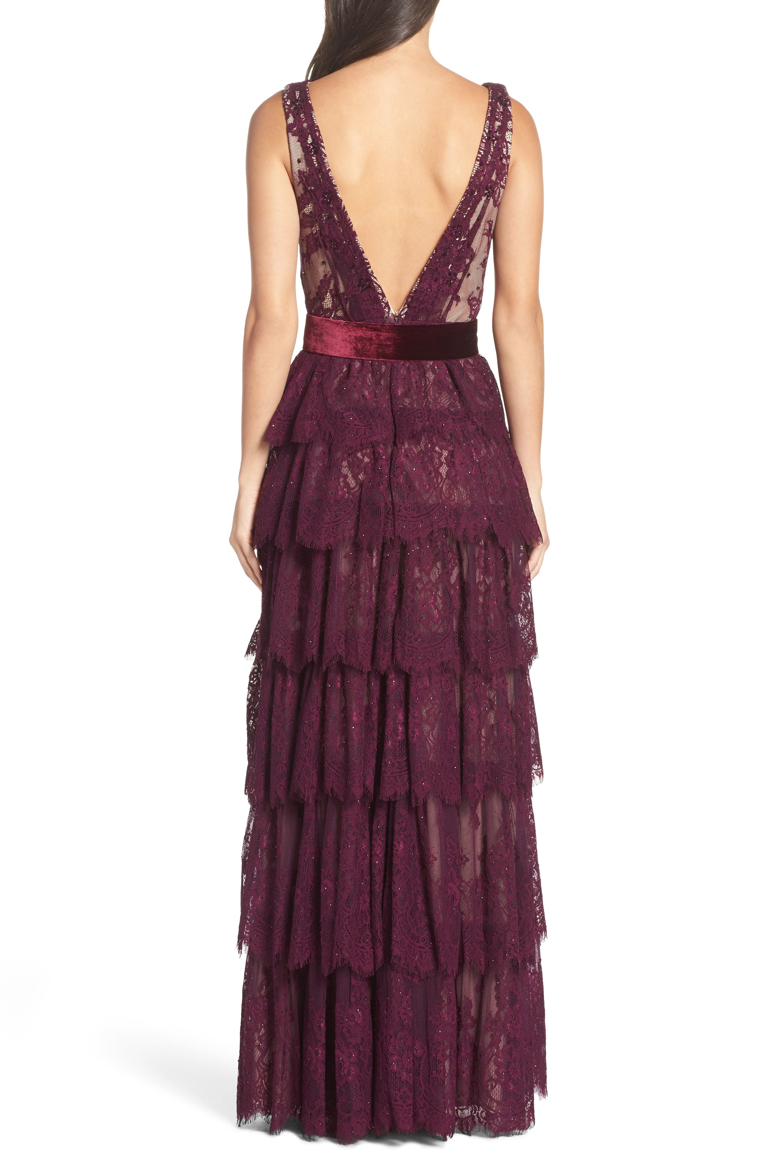 Alternate Image 2  - Mac Duggal Tiered Lace Column Gown