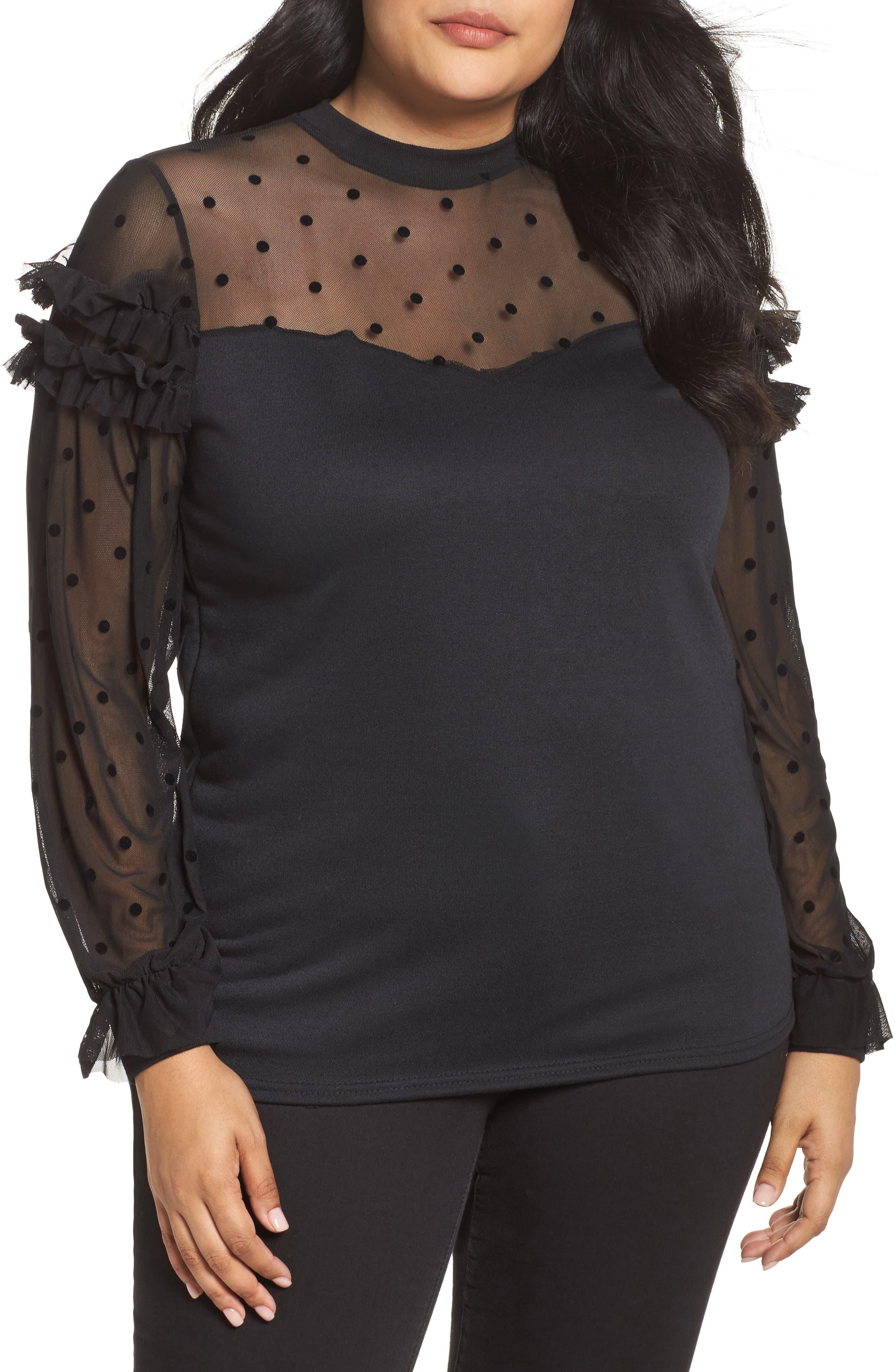 Dot Mesh Sweater,                         Main,                         color, Black