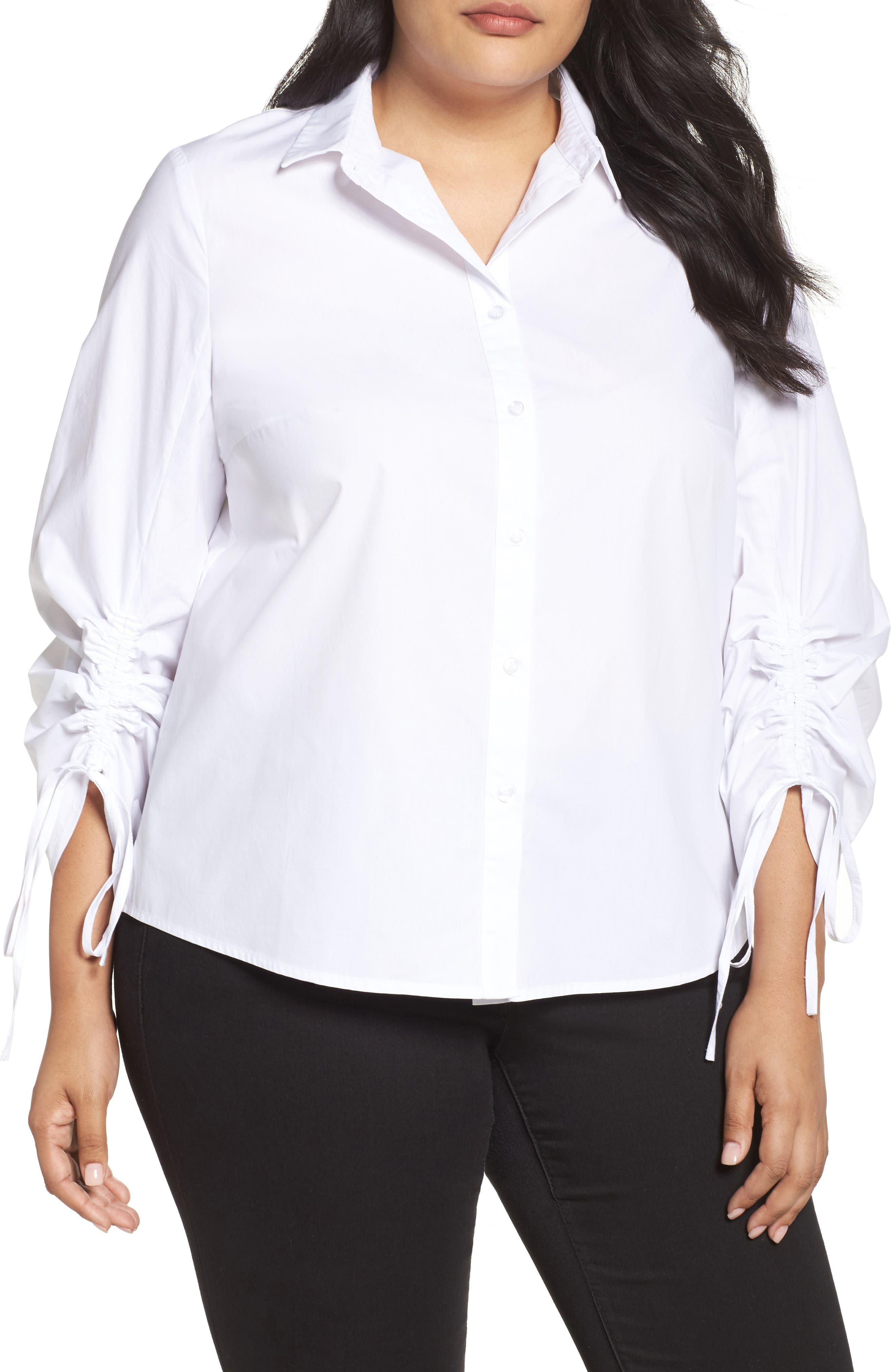 Ruched Sleeve Button-Up Shirt,                             Main thumbnail 1, color,                             White