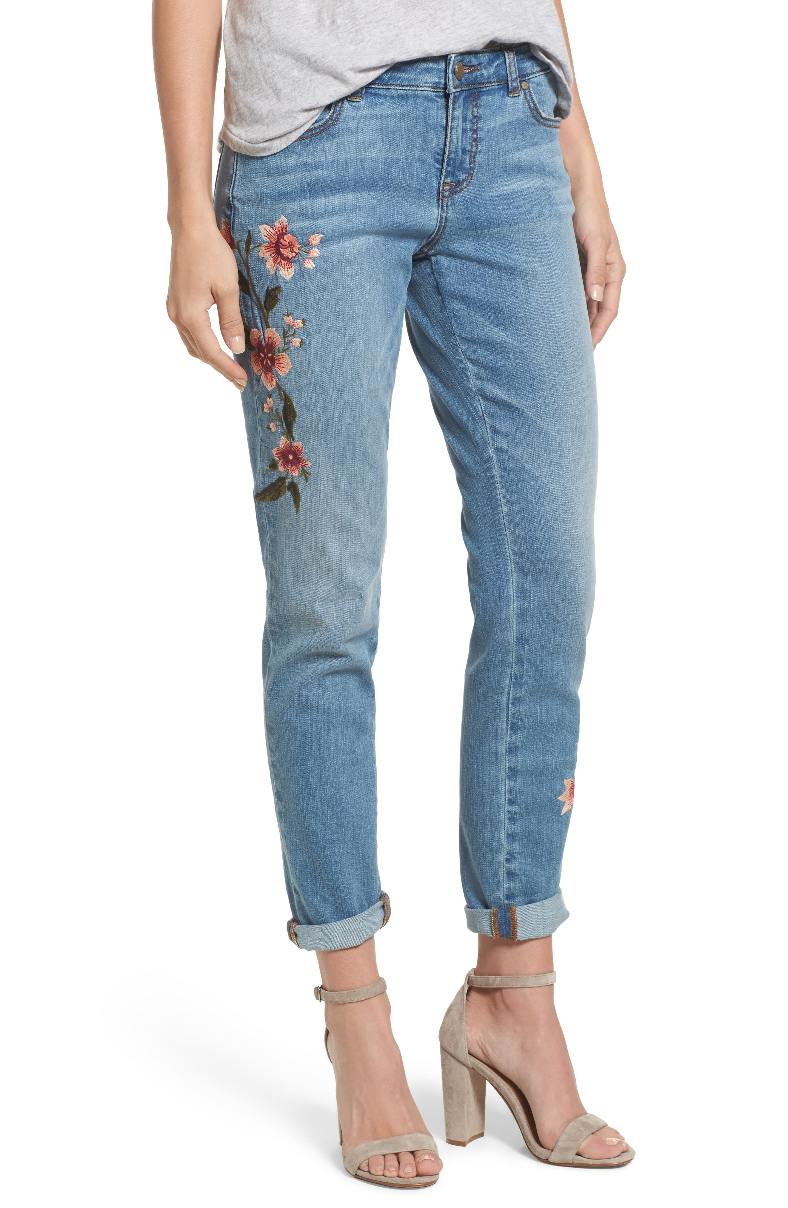 Embroidered Skinny Boyfriend Jeans,                         Main,                         color, Blue Frontier