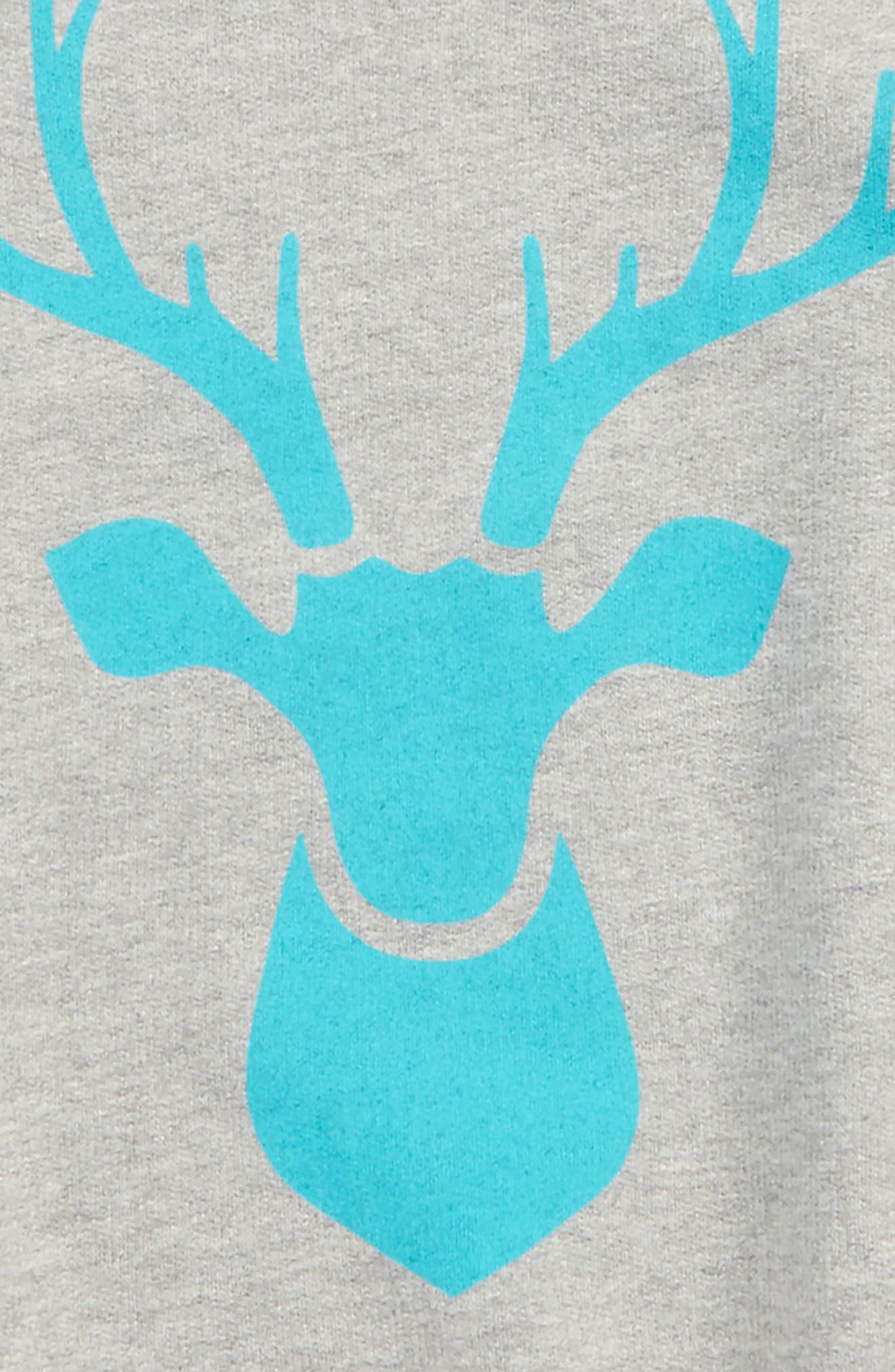 Alternate Image 2  - Peek Reindeer Graphic Raglan Sweatshirt (Toddler Boys, Little Boys & Big Boys)