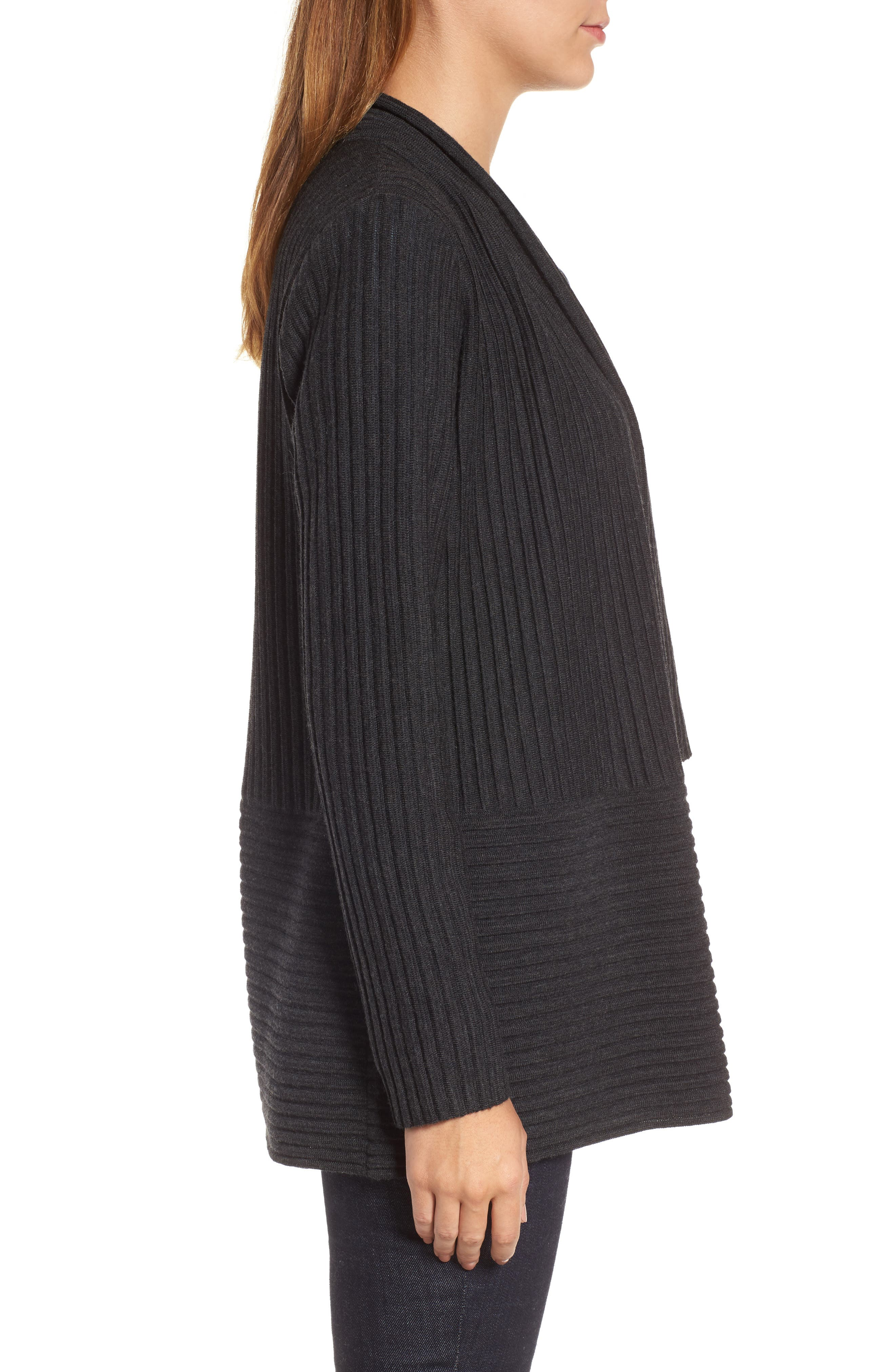 Alternate Image 3  - Eileen Fisher Ribbed Merino Wool Long Cardigan