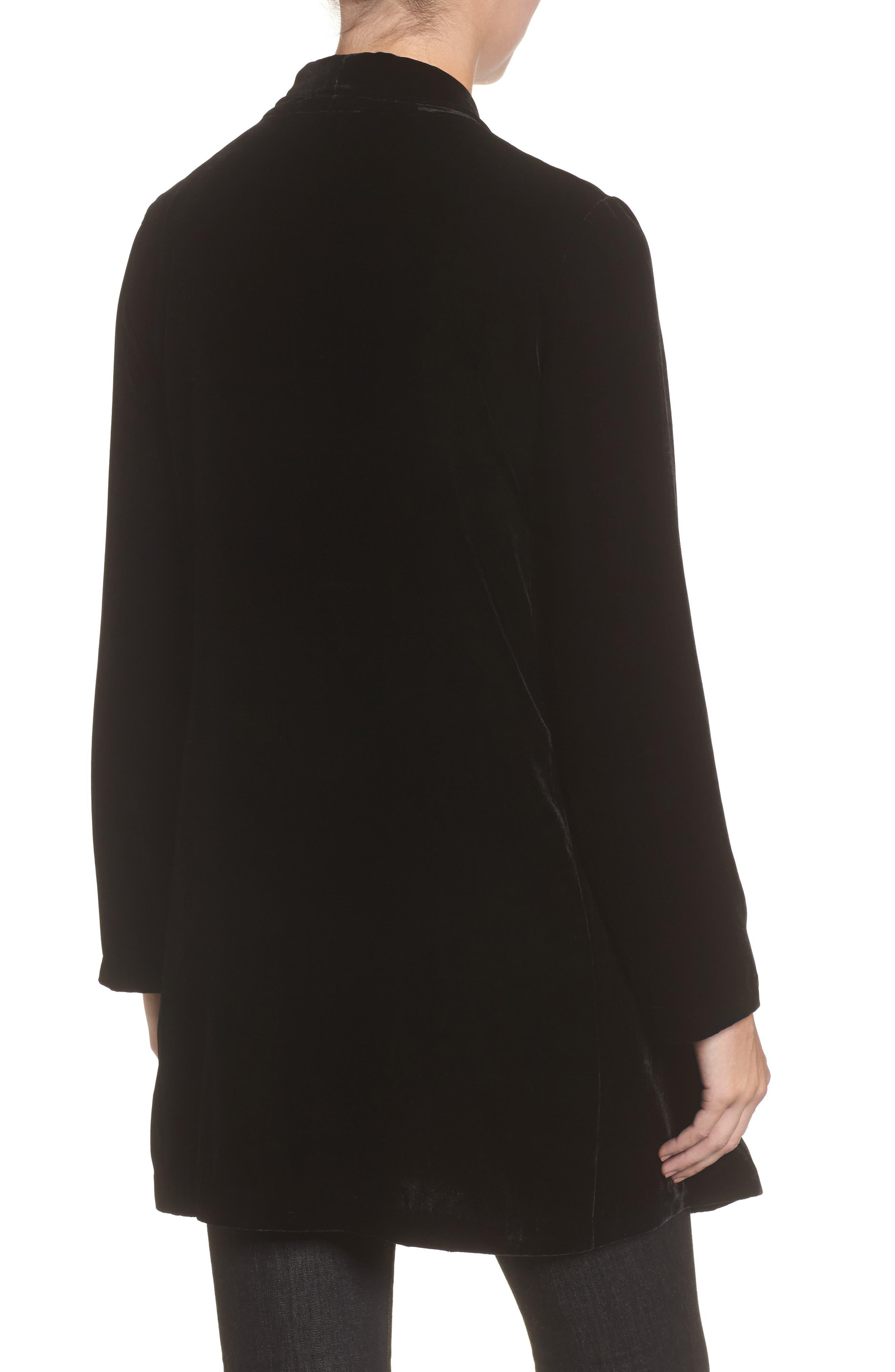 Shawl Collar Velvet Jacket,                             Alternate thumbnail 2, color,                             Black
