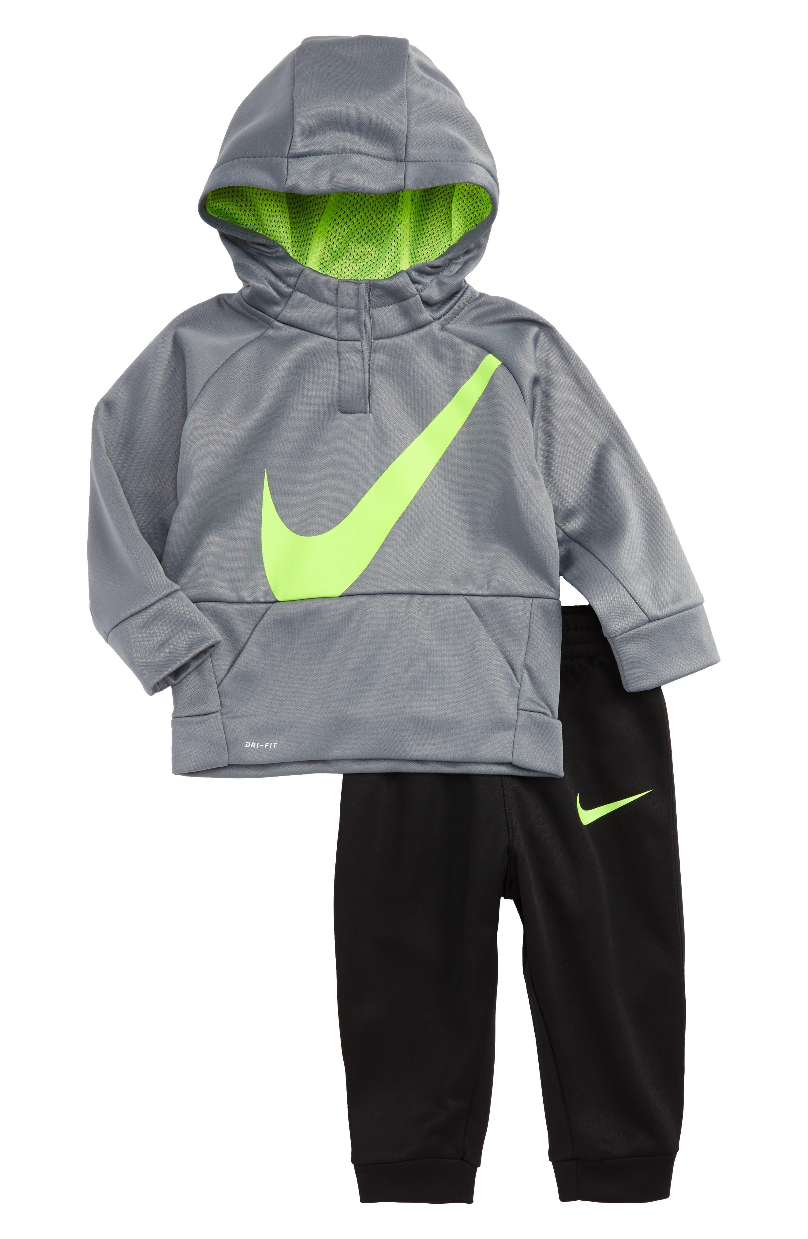 Main Image - Nike Swoosh Therma-FIT Oversize Hoodie & Pants Set (Baby Boys)