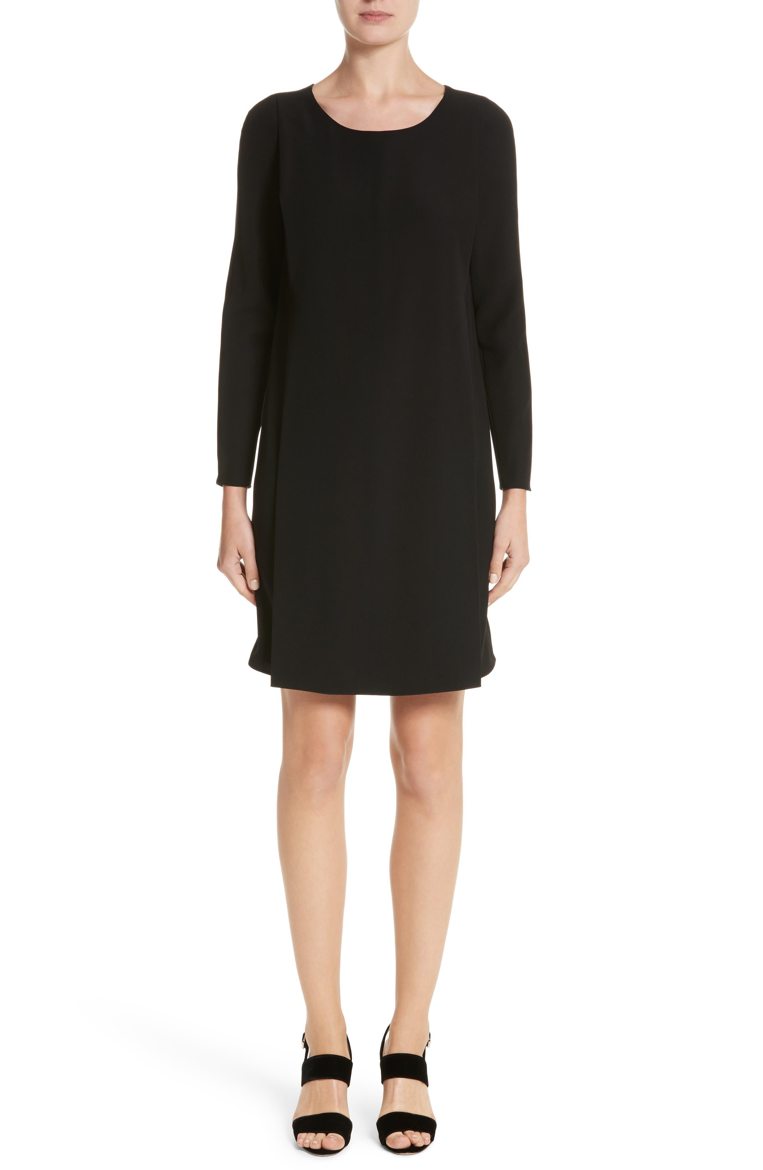 Draped Cady Shift Dress,                         Main,                         color, Black