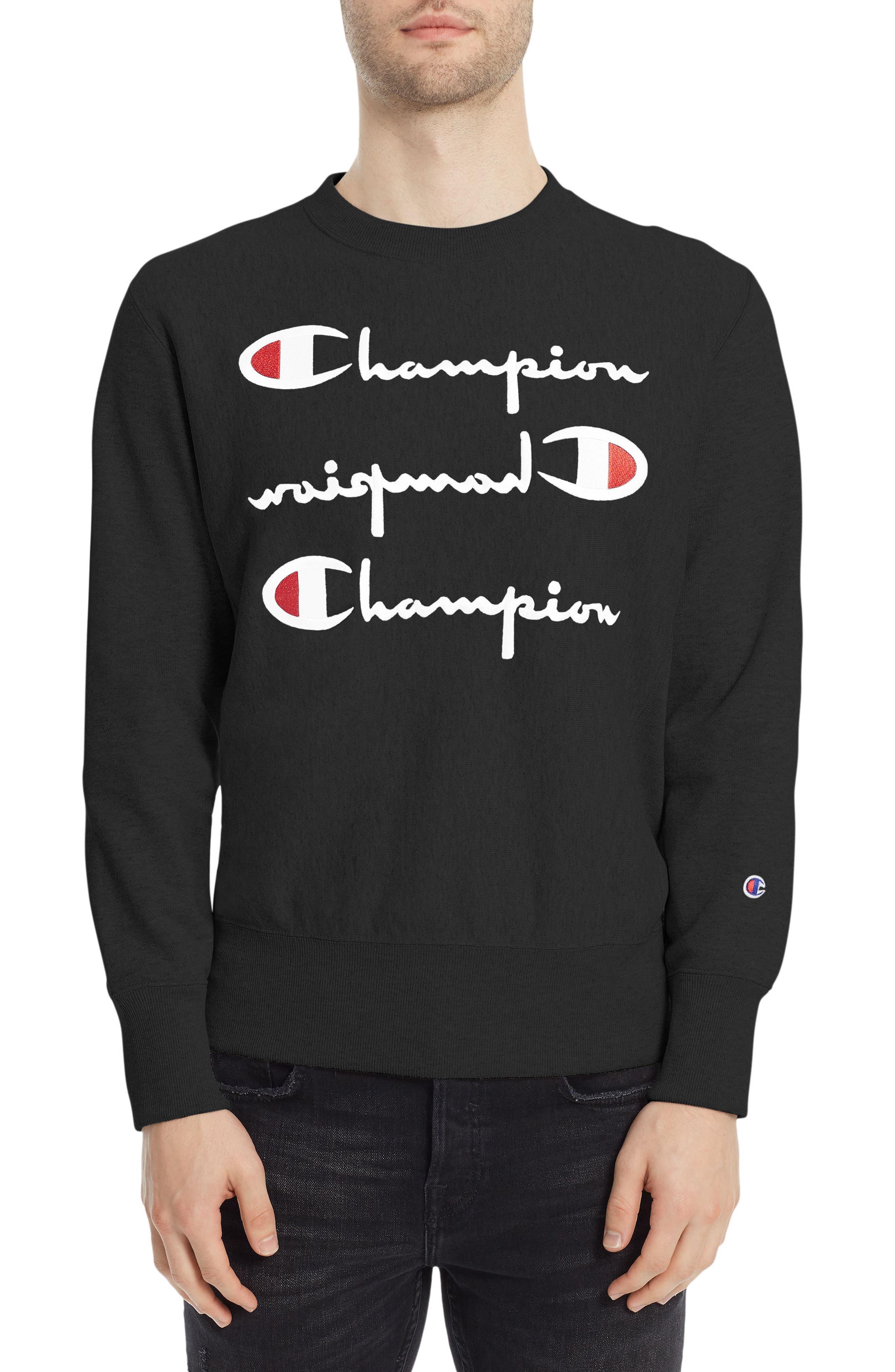 Reverse Weave<sup>®</sup> Logo Sweatshirt,                         Main,                         color, Black