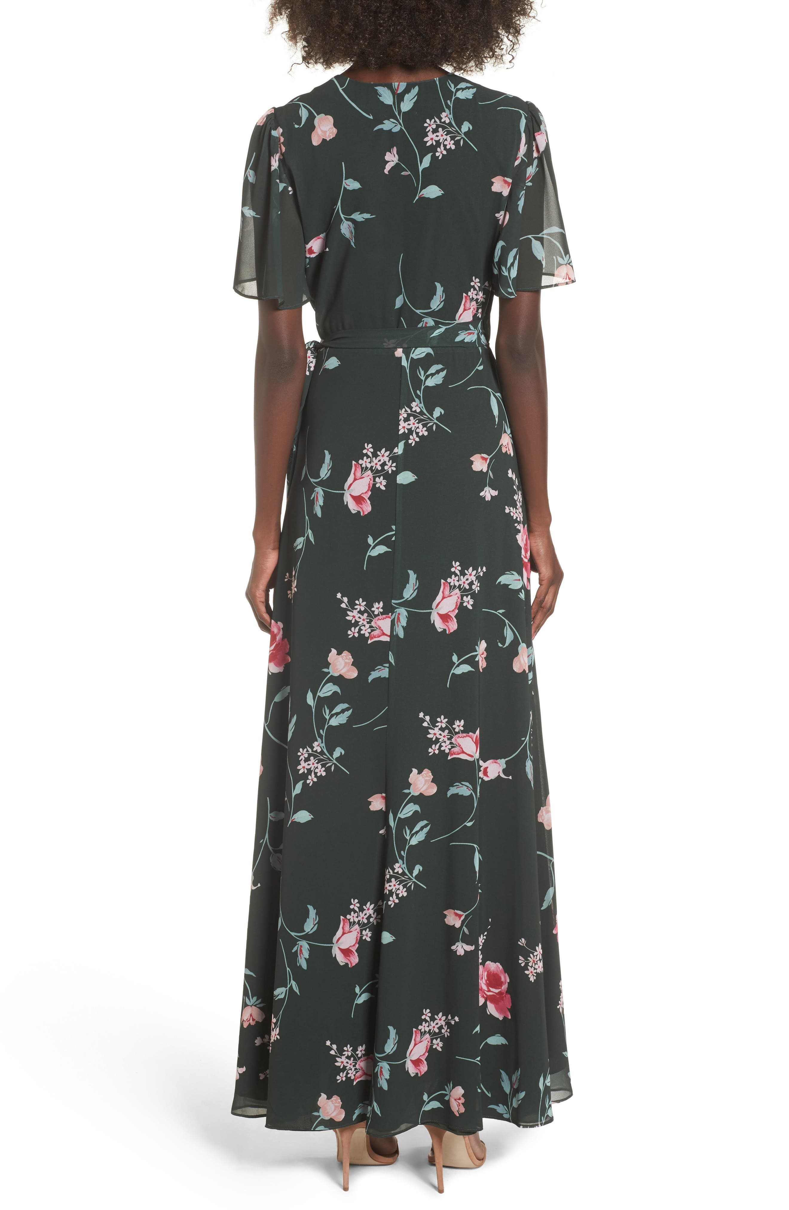 Plaza Kimono Maxi Dress,                             Alternate thumbnail 2, color,                             Evergreen Floral