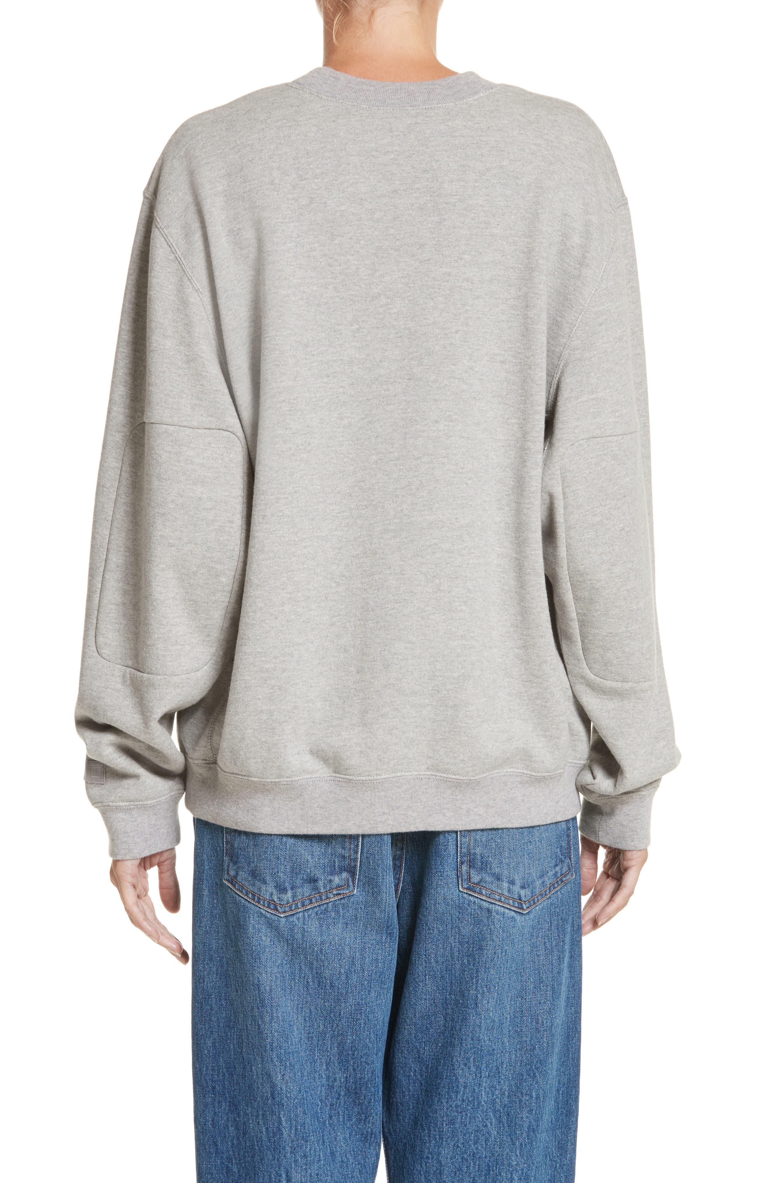 PSWL Graphic Jersey Oversize Sweatshirt,                             Alternate thumbnail 2, color,                             Grey Melange/ White Logo