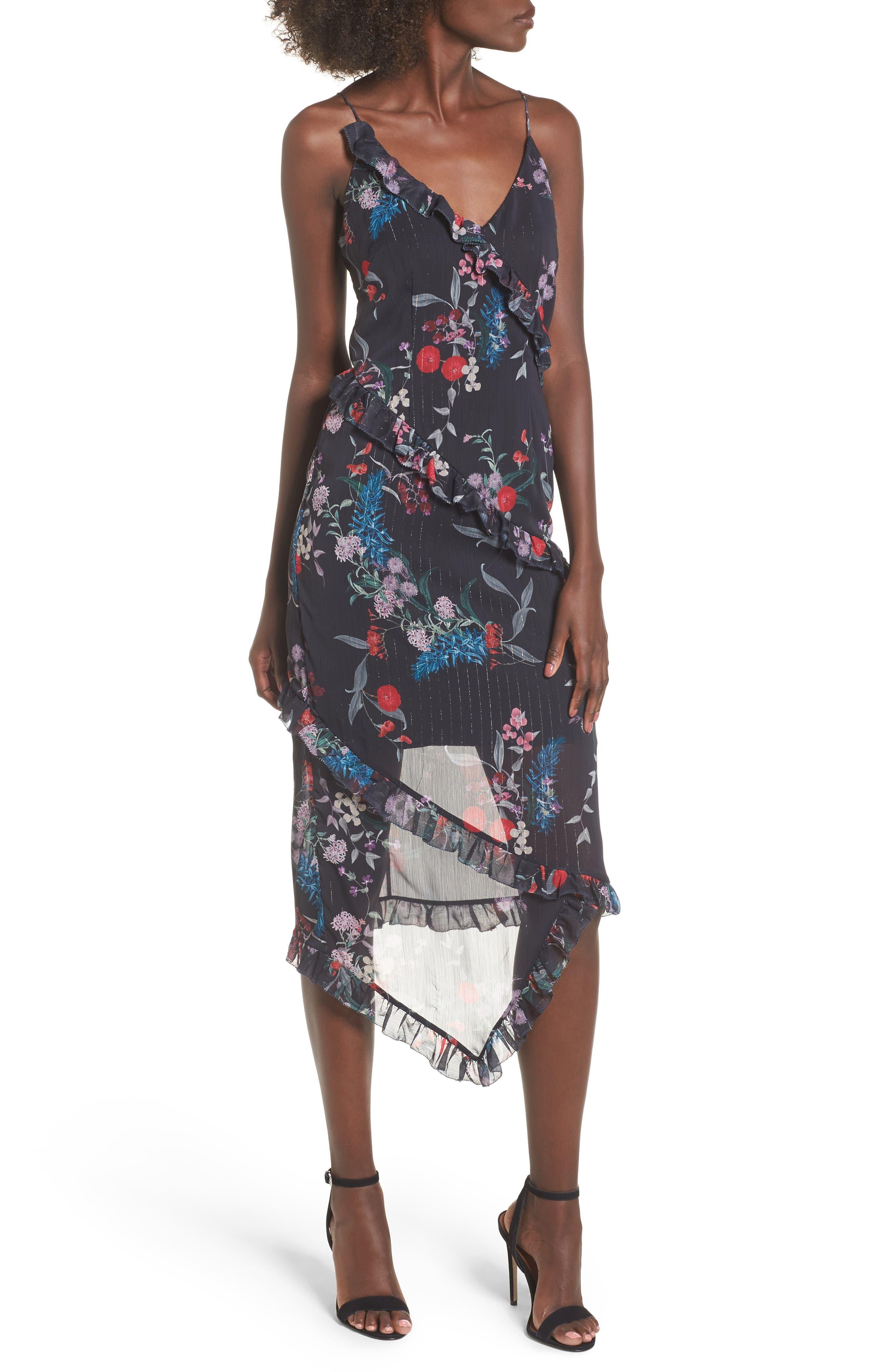 Ruffle Chiffon Midi Dress,                             Main thumbnail 1, color,                             Black Botanic Floral