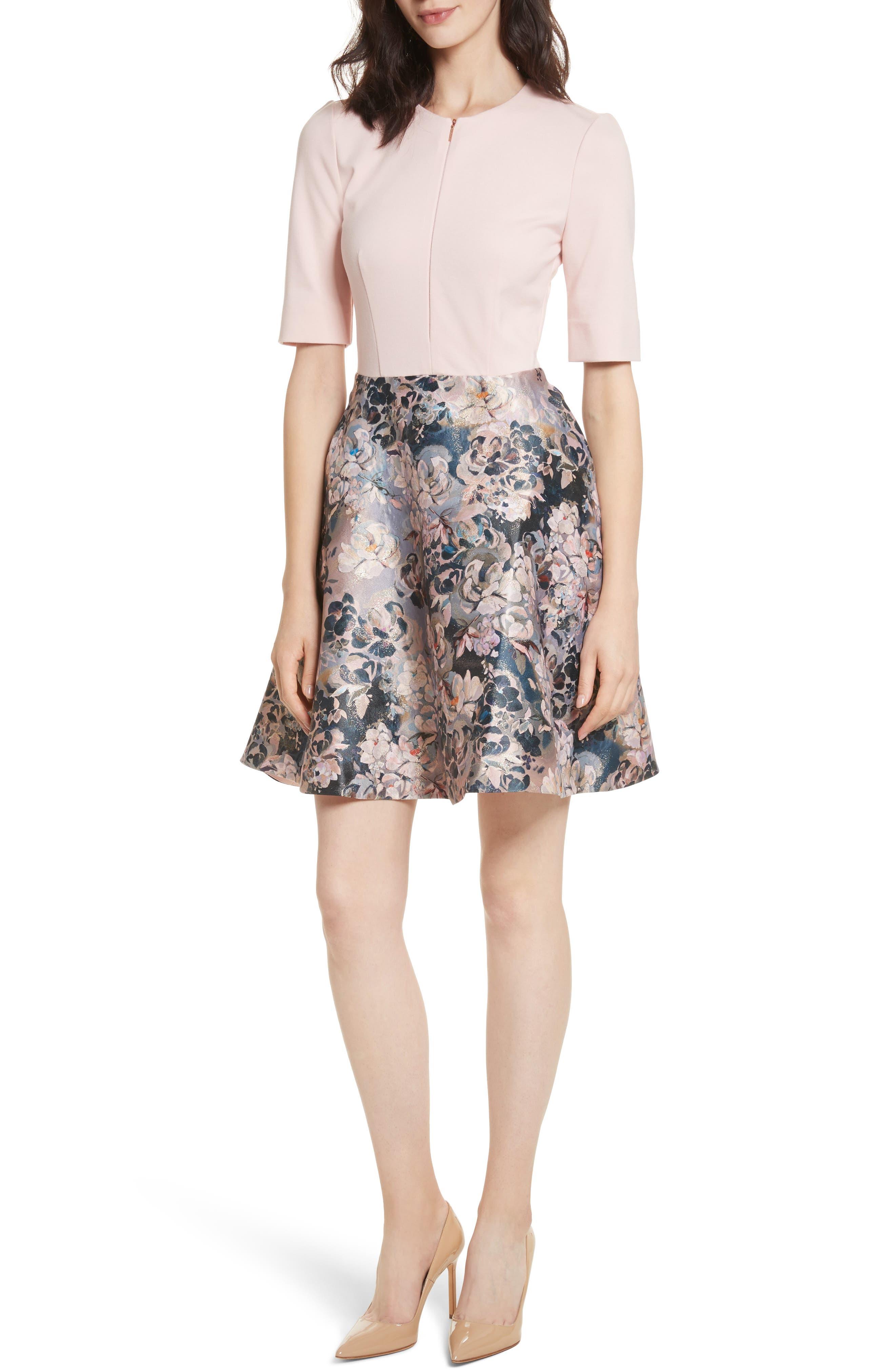 Eloquent Jacquard Skater Dress,                             Main thumbnail 1, color,                             Pale Pink