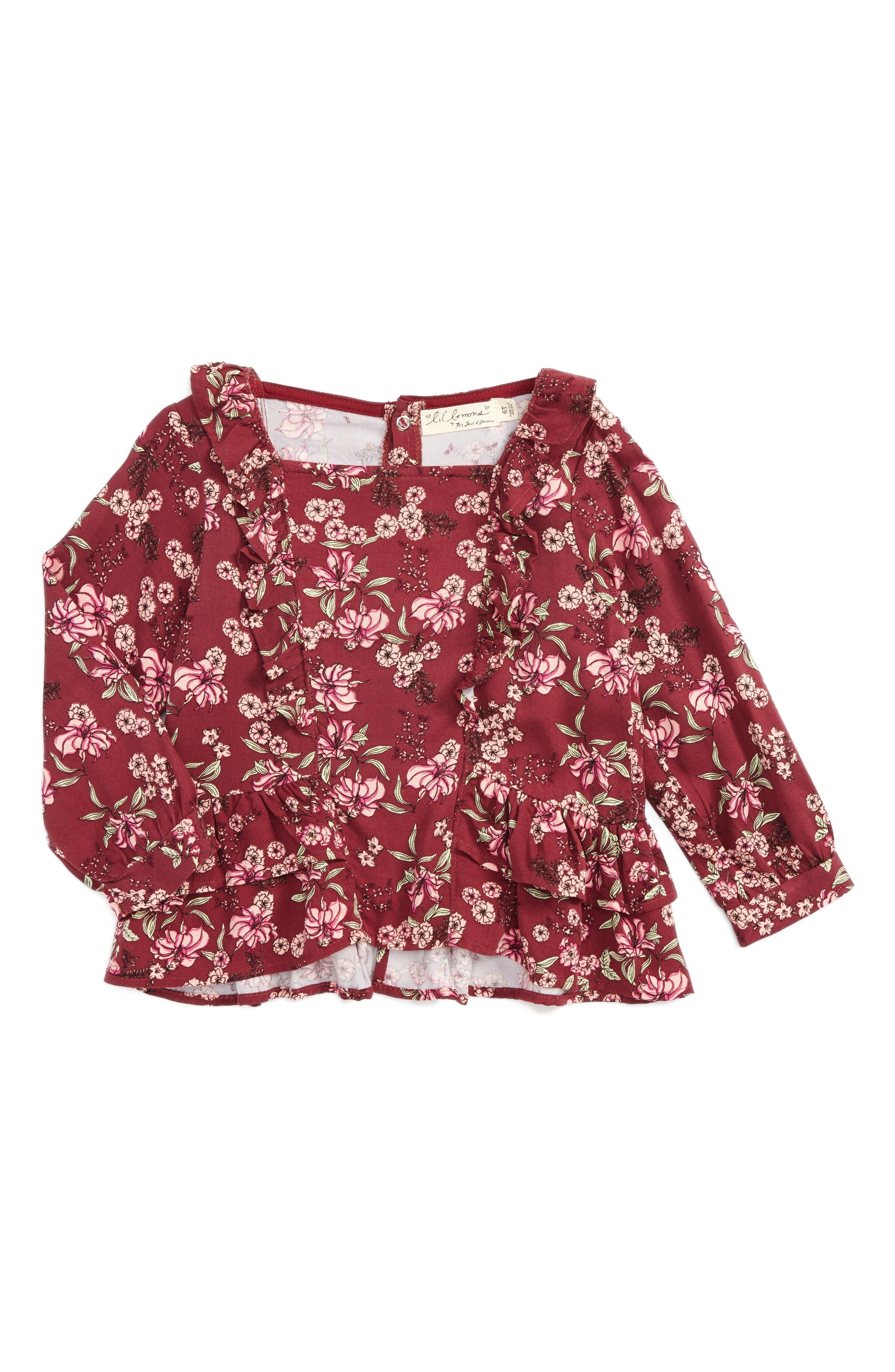 Main Image - Love For Lemons Juniper Floral Blouse (Toddler Girls & Little Girls)