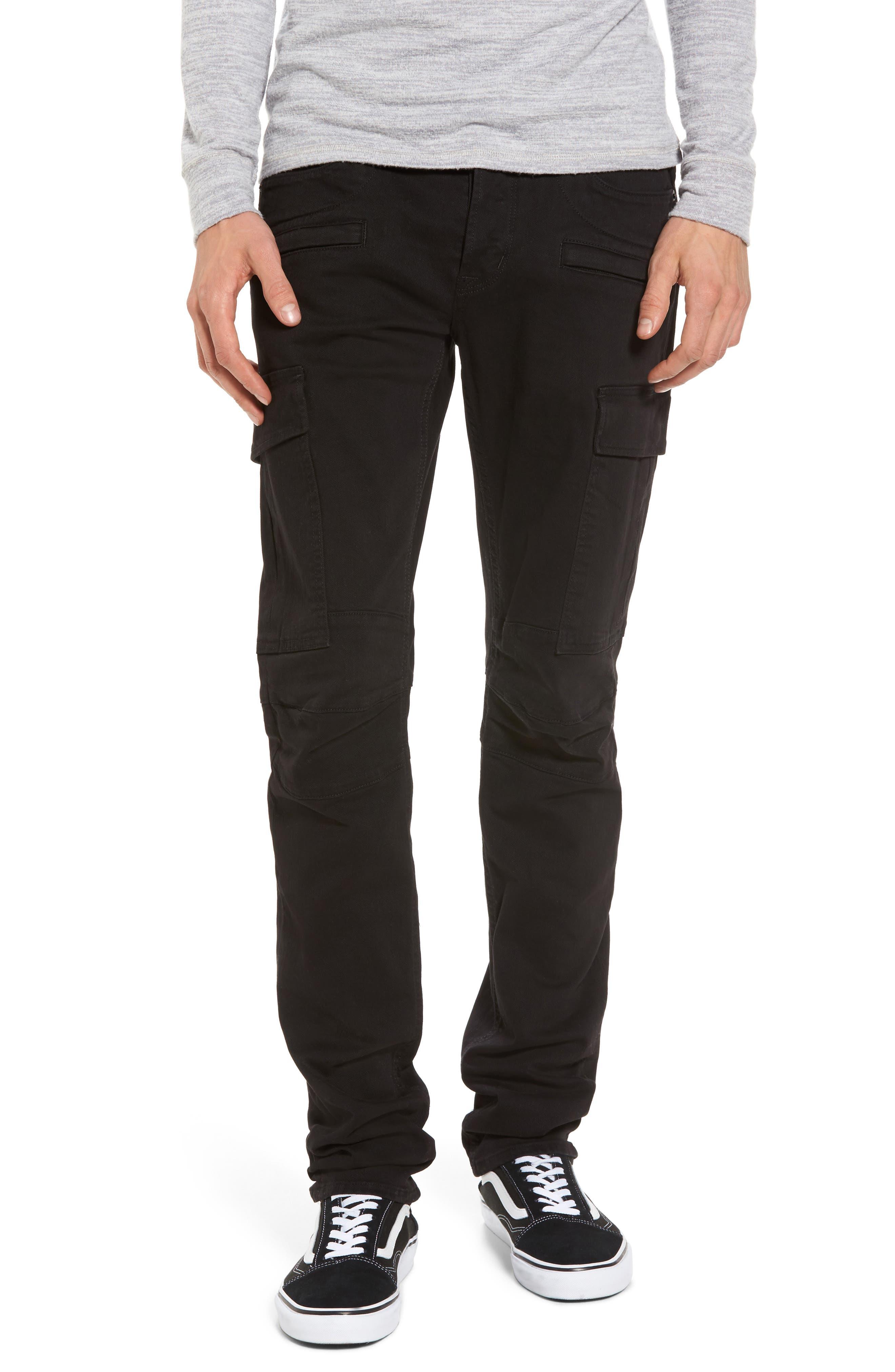 Greyson Cargo Biker Skinny Fit Jeans,                         Main,                         color, Black