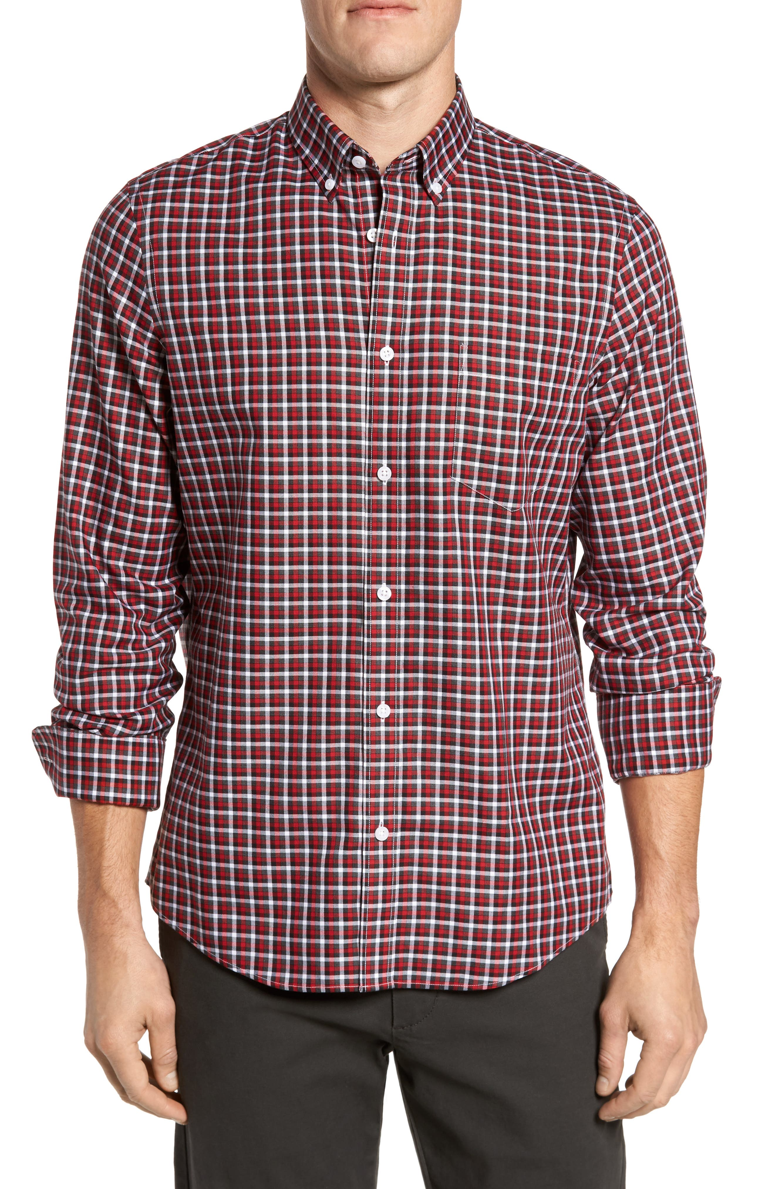 Smartcare<sup>™</sup> Regular Fit Plaid Sport Shirt,                             Main thumbnail 1, color,                             Red Grey Heather Check