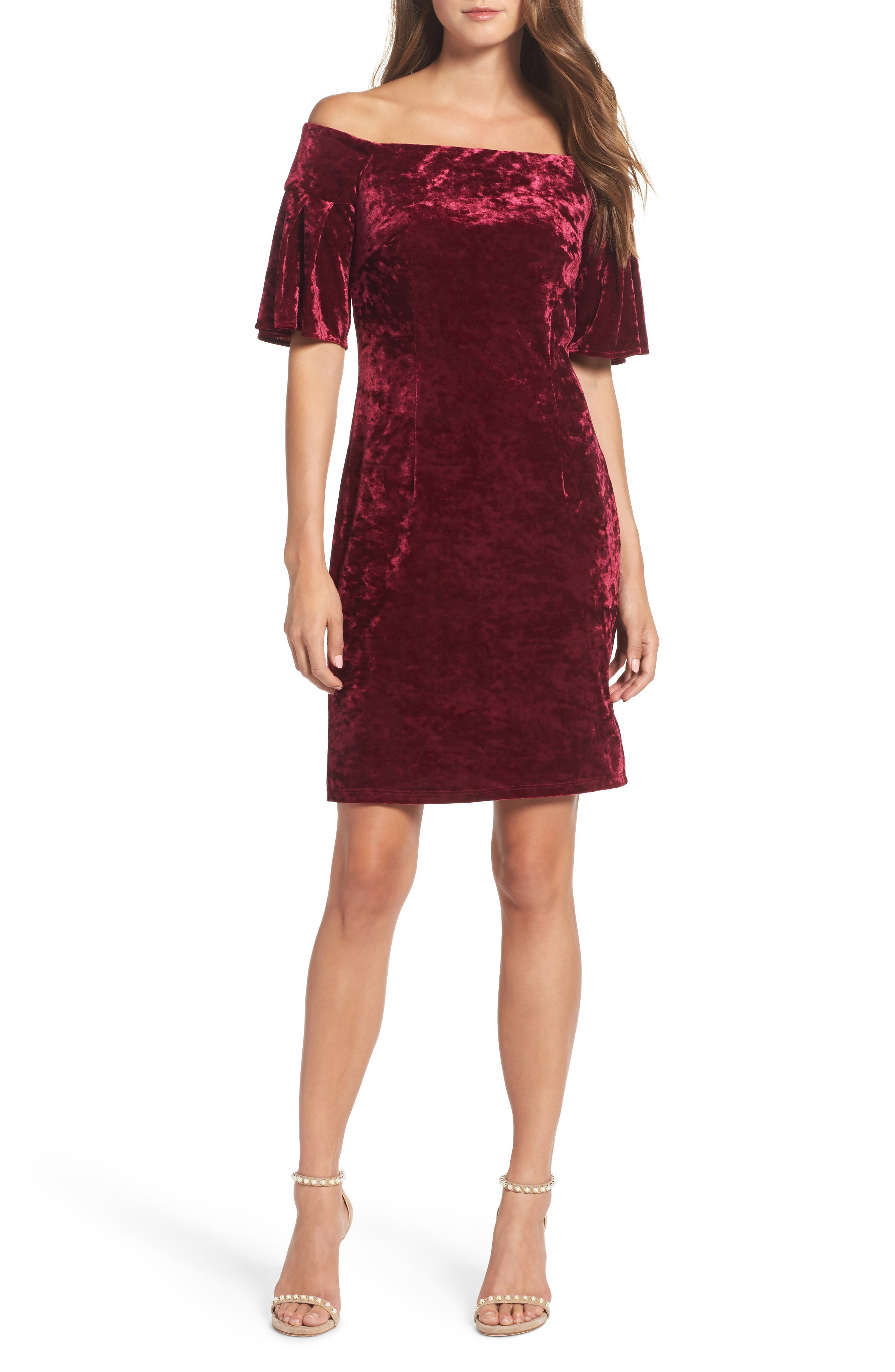 Off the Shoulder Velvet Dress,                             Main thumbnail 1, color,                             Wine