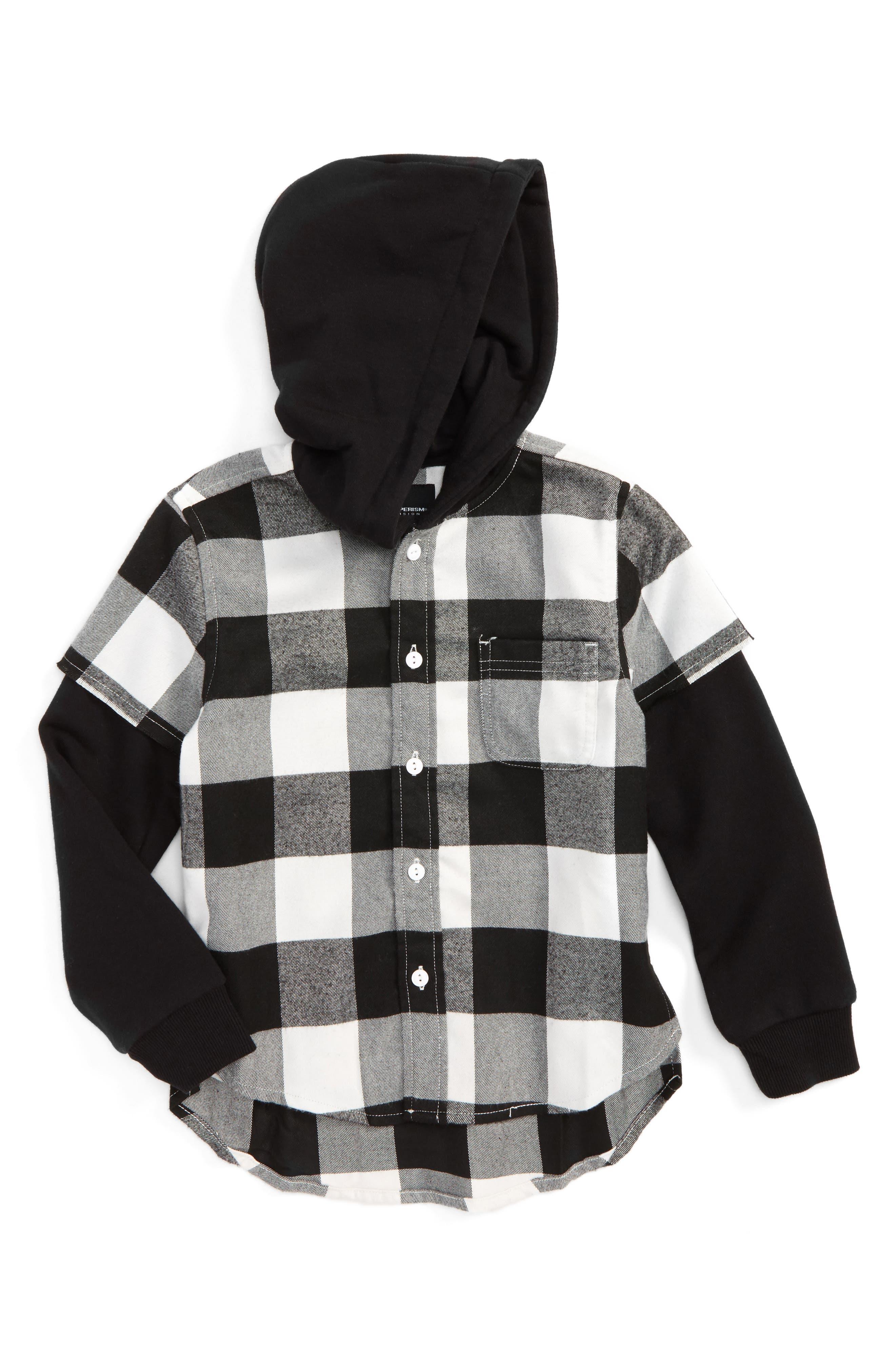 Rylan Check Hooded Shirt,                             Main thumbnail 1, color,                             Black/ White