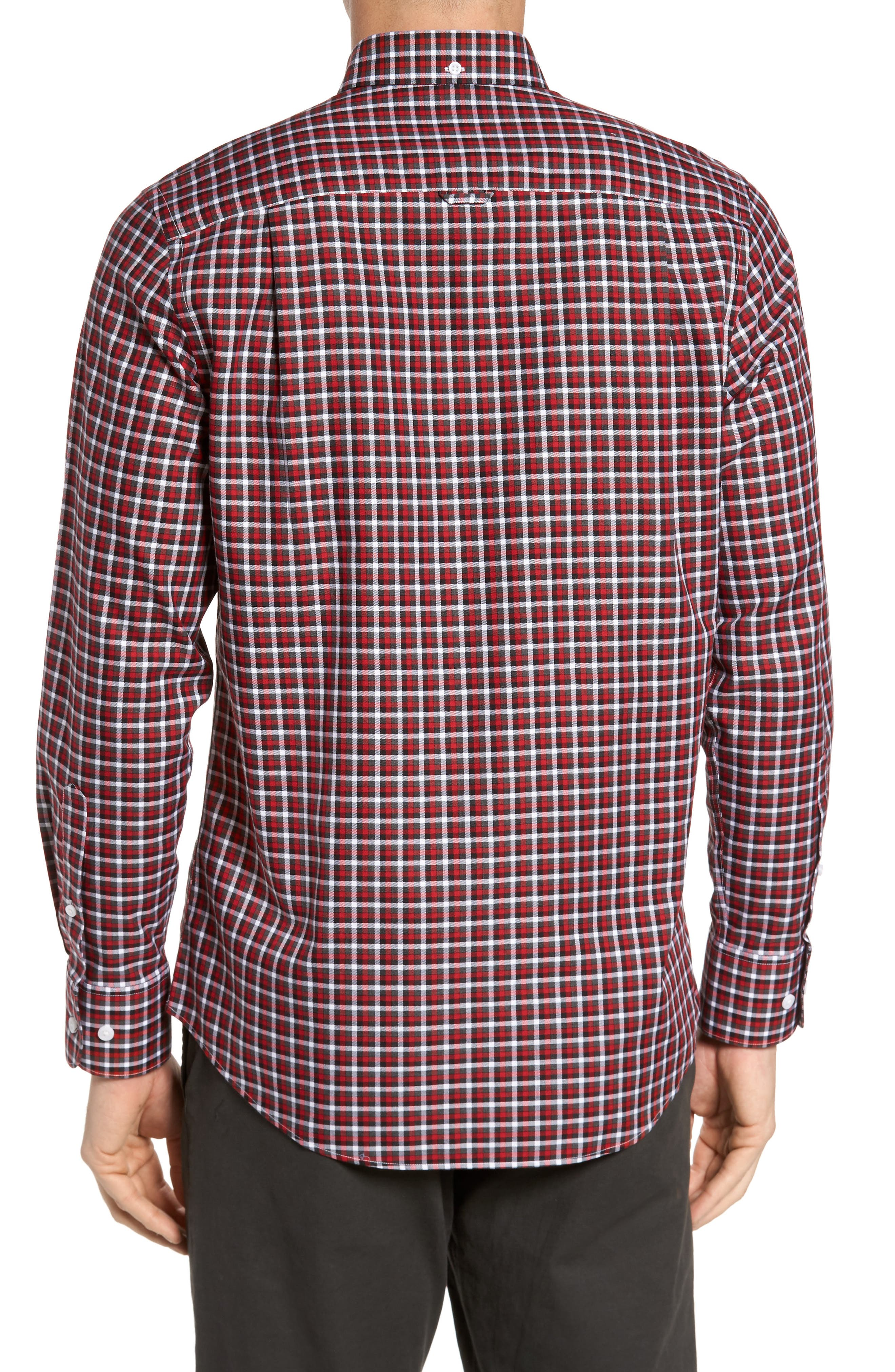 Smartcare<sup>™</sup> Regular Fit Plaid Sport Shirt,                             Alternate thumbnail 2, color,                             Red Grey Heather Check