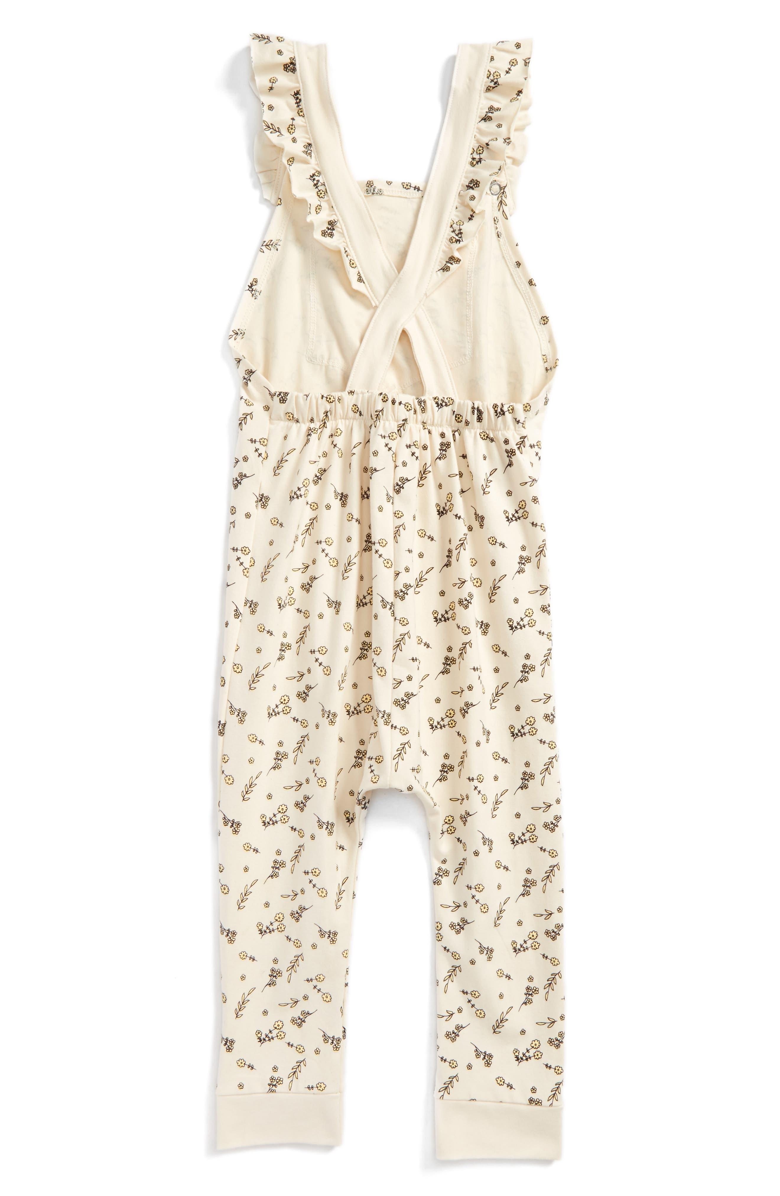 Florette Jersey Overalls,                             Alternate thumbnail 2, color,                             Ivory Floral