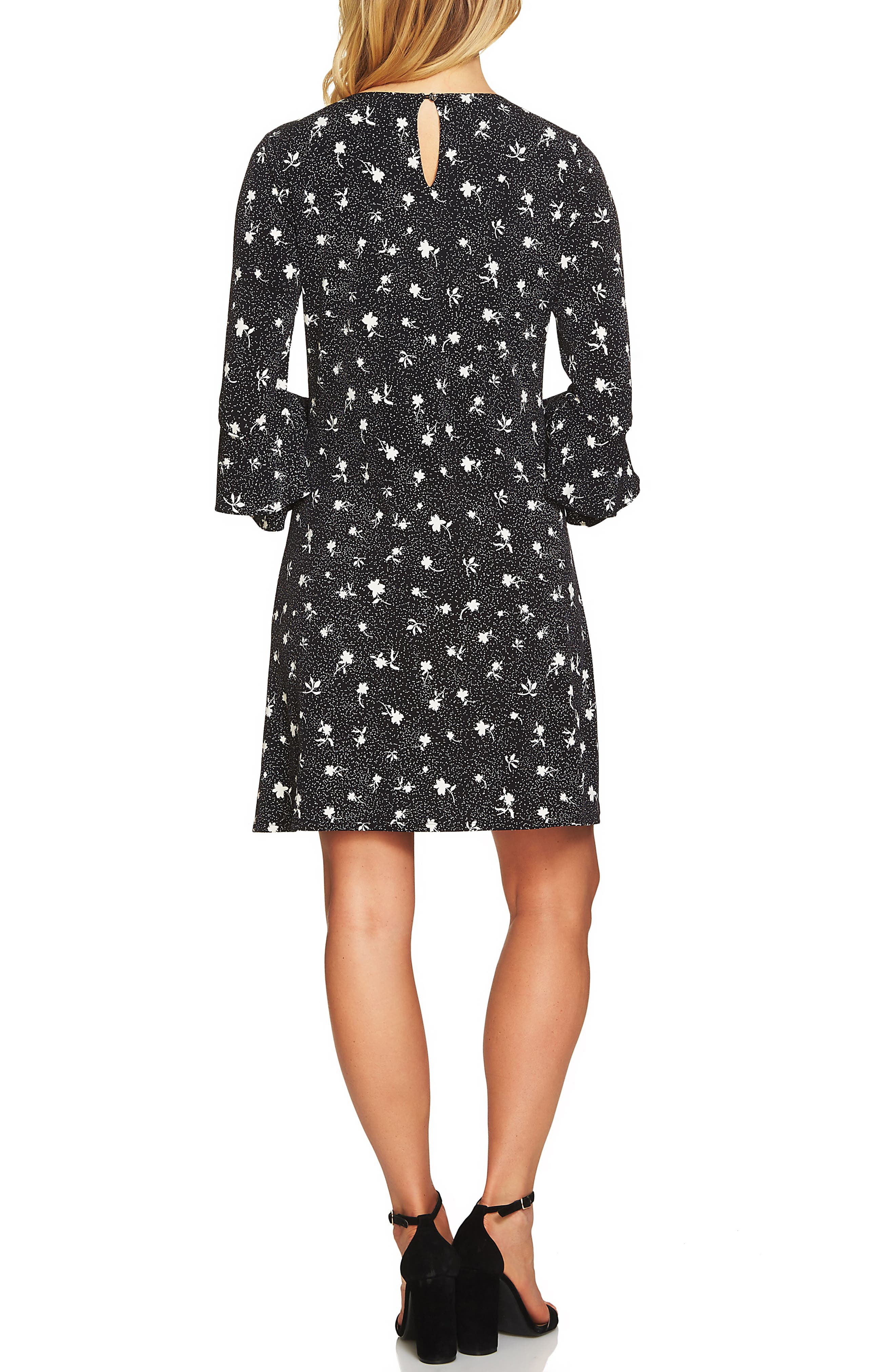 Dotted Bell Sleeve Knit Dress,                             Alternate thumbnail 2, color,                             Rich Black