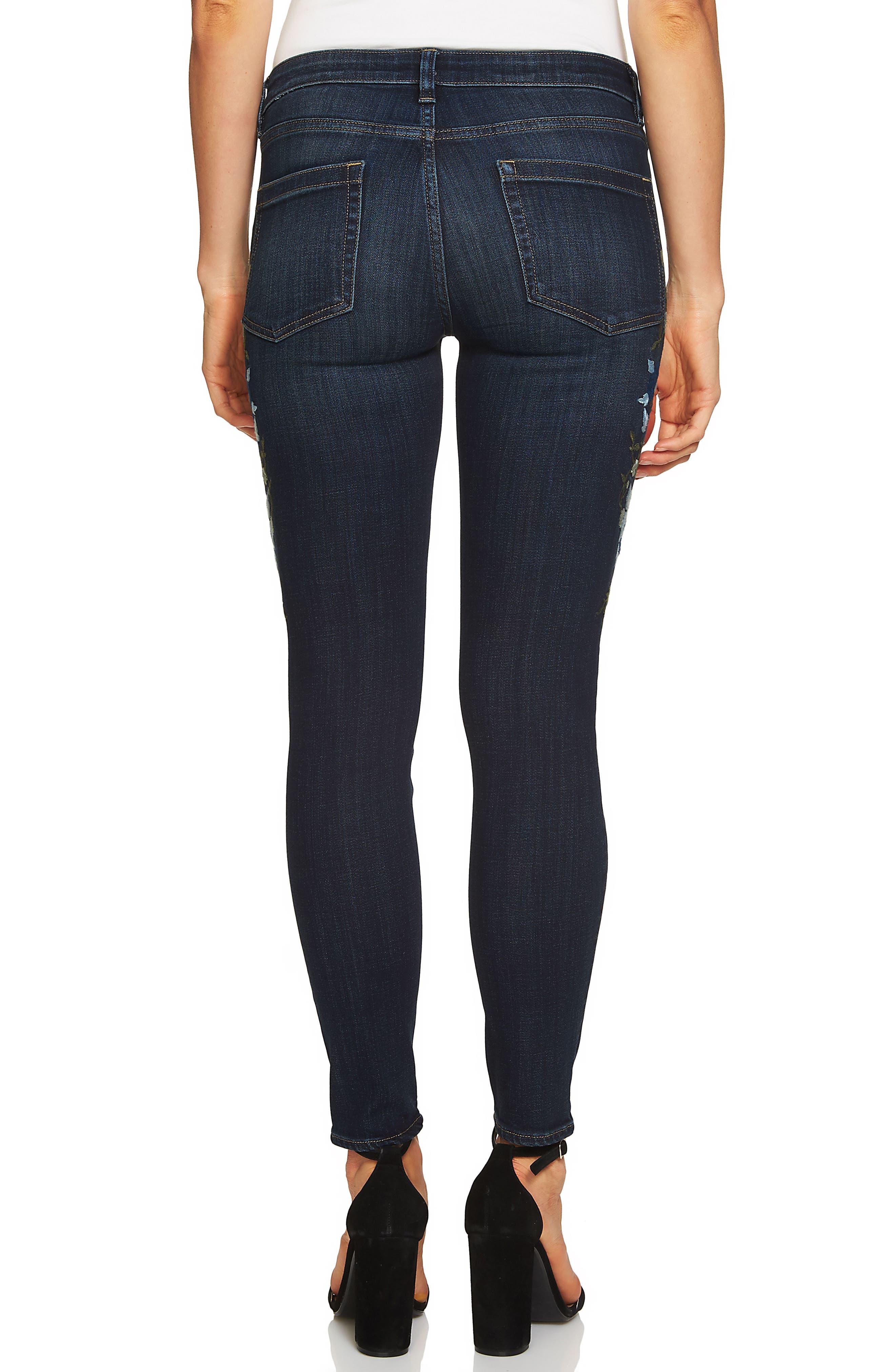 Indigo Denim Floral Embroidered Jeans,                             Alternate thumbnail 2, color,                             Dark Authentic Blue