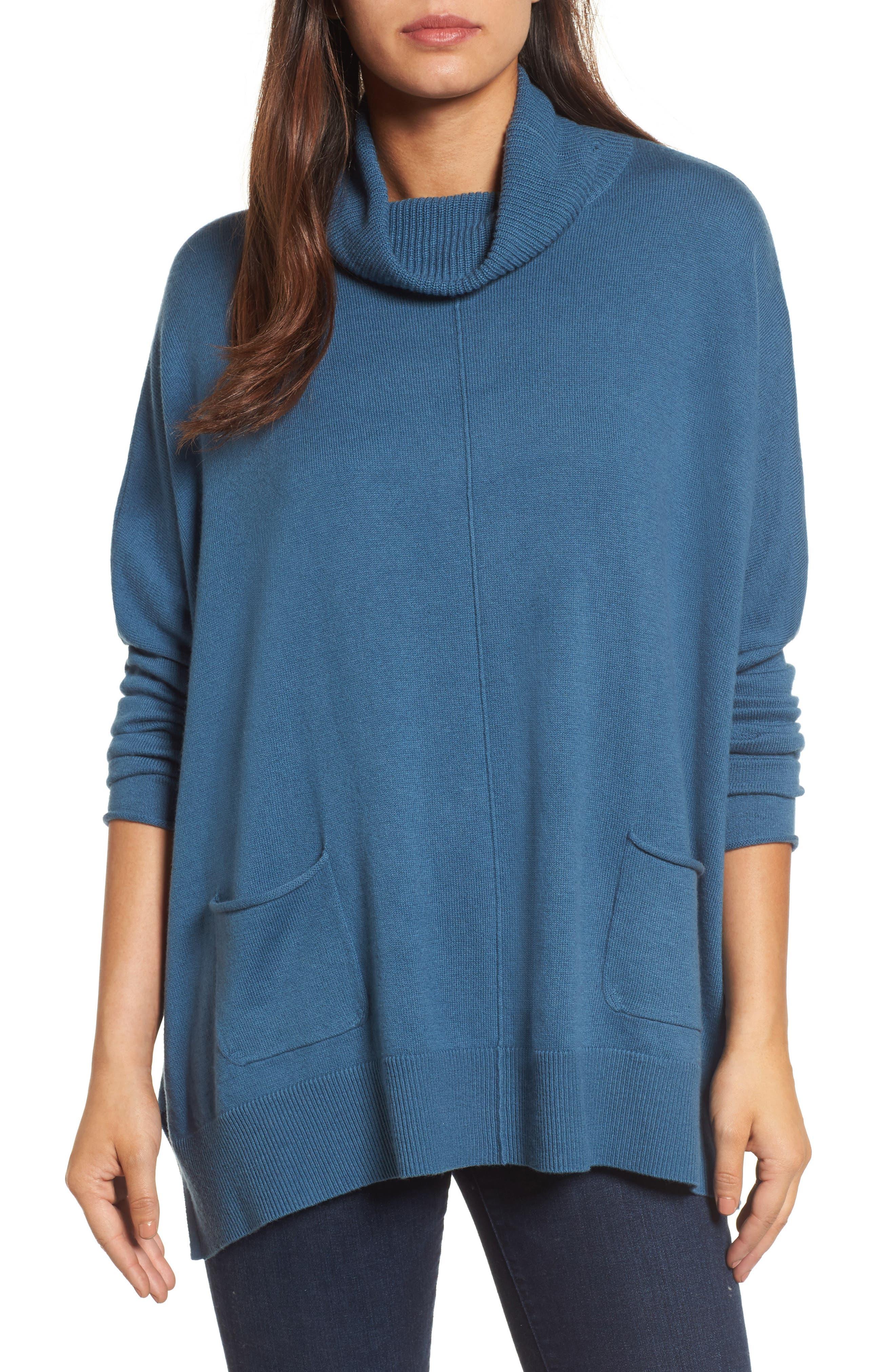 Caslon® Turtleneck Poncho Sweater (Regular & Petite)
