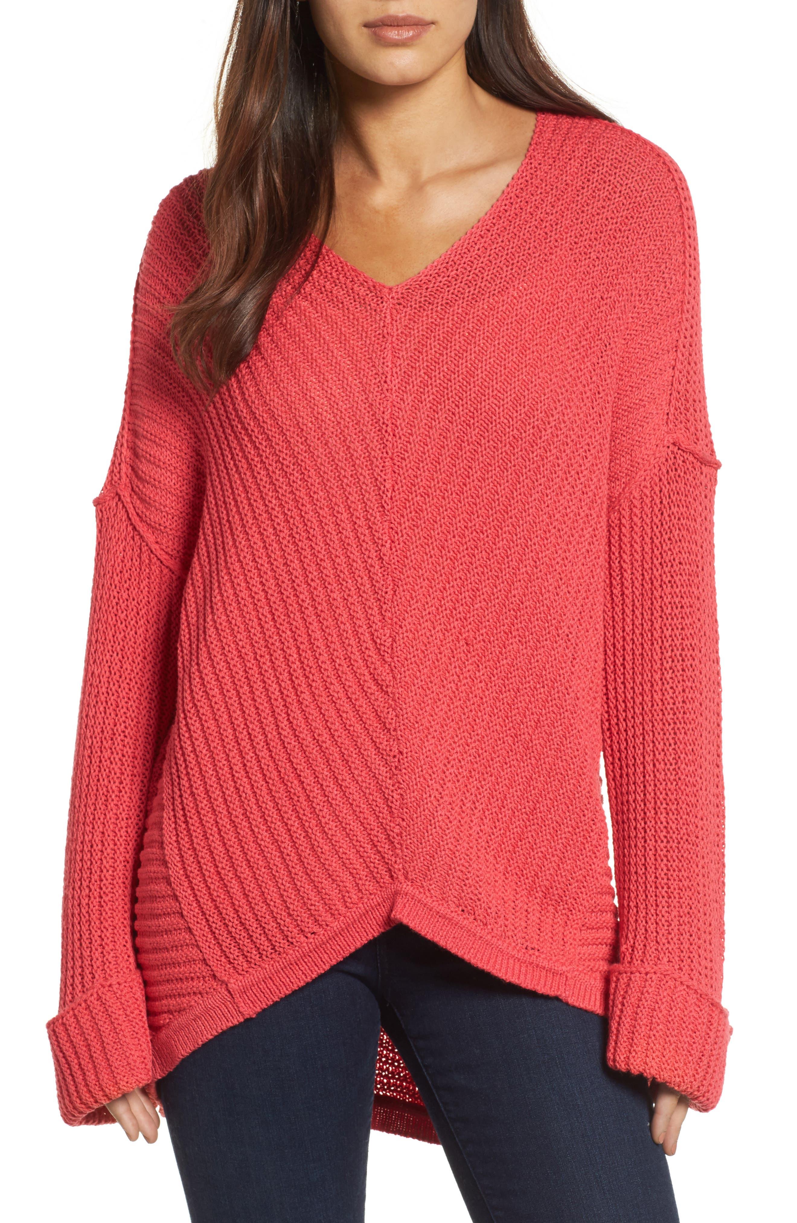 Alternate Image 1 Selected - Caslon® Cuffed Sleeve Sweater (Regular & Petite)
