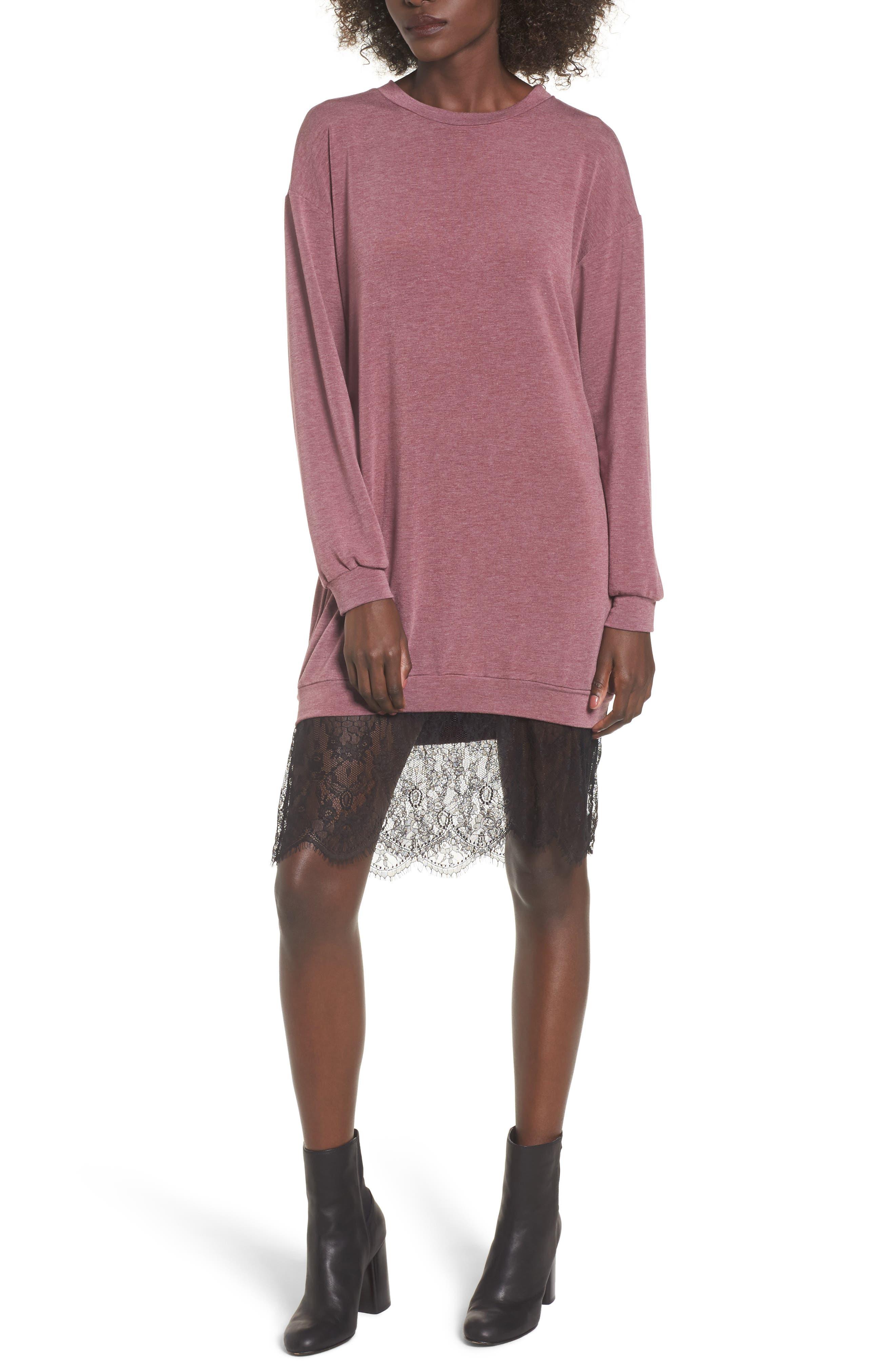 Lace Hem Sweatshirt Dress,                         Main,                         color, Burgundy-Black