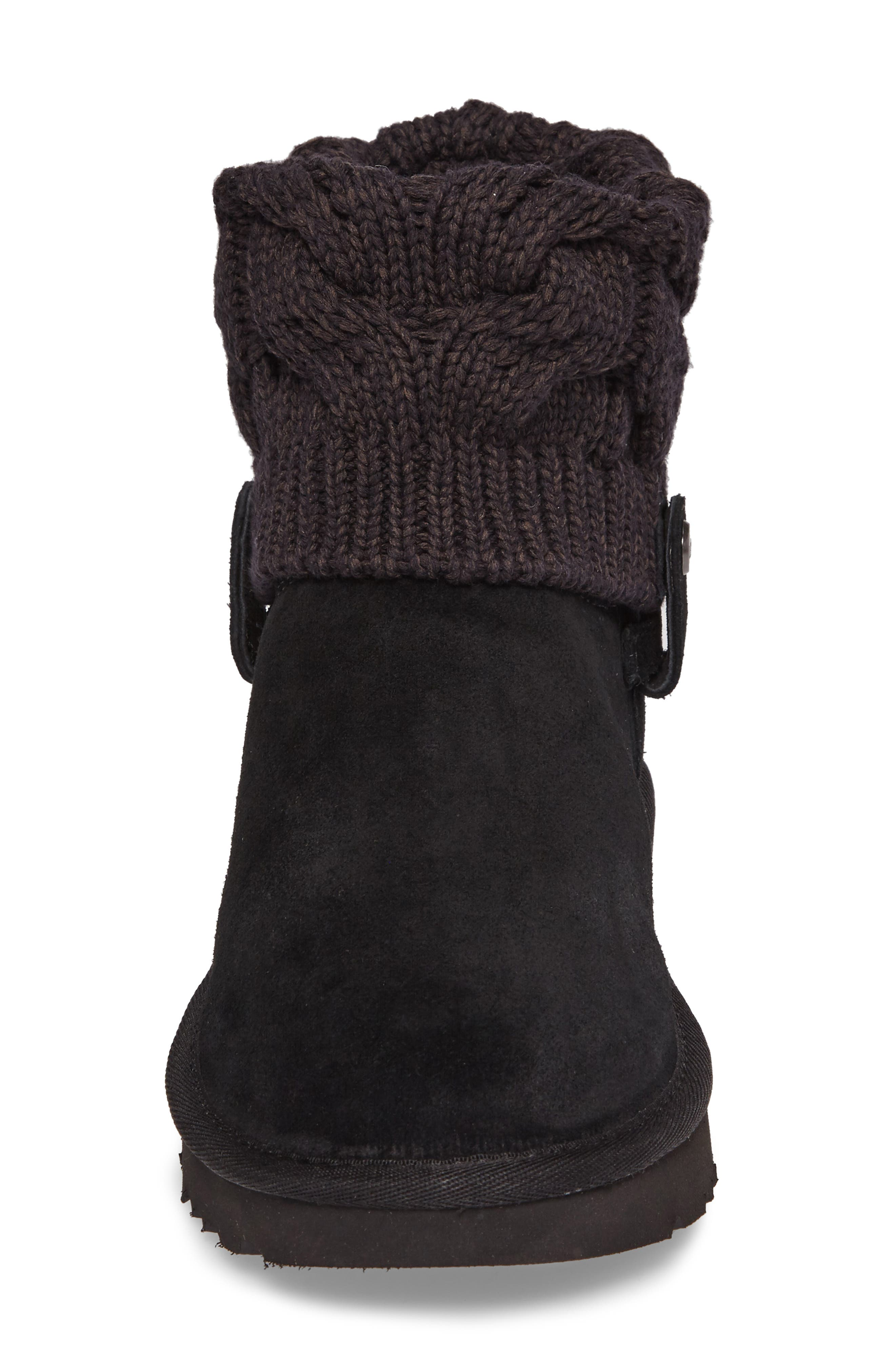 Saela Knit Cuff Boot,                             Alternate thumbnail 4, color,                             Black Suede